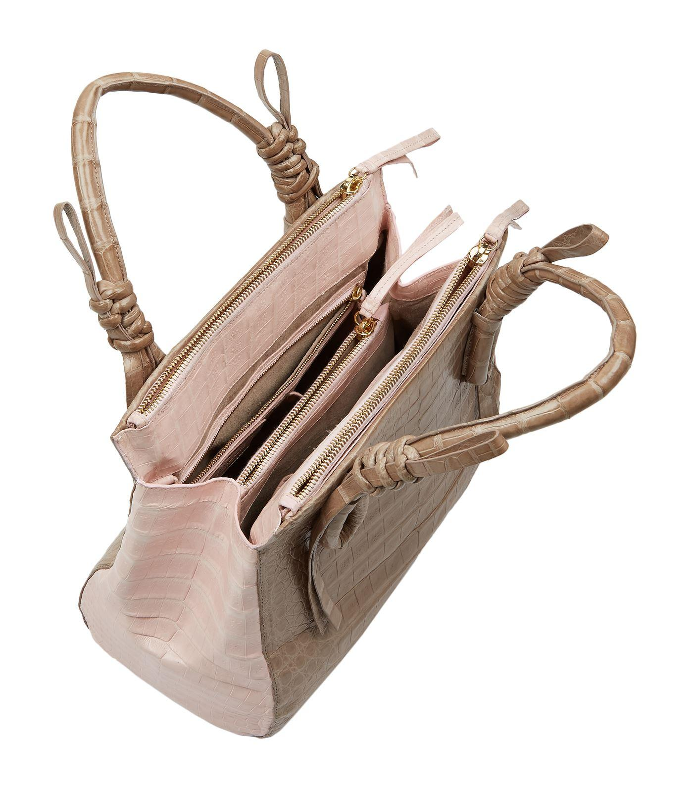Nancy Gonzalez Suede Medium Crocodile Double-zip Tote Bag