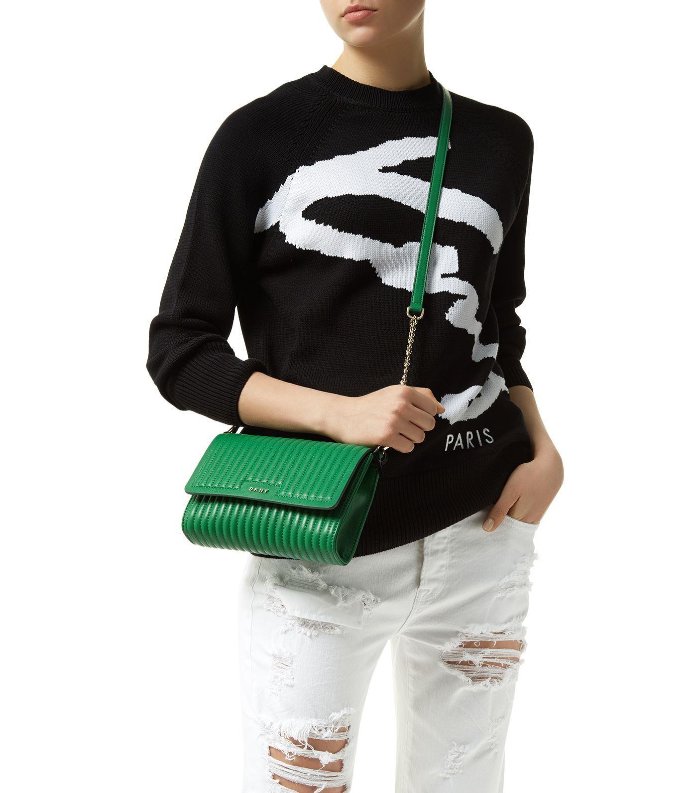 DKNY Leather Gansevoort Cross Body Bag in Ivory (White)