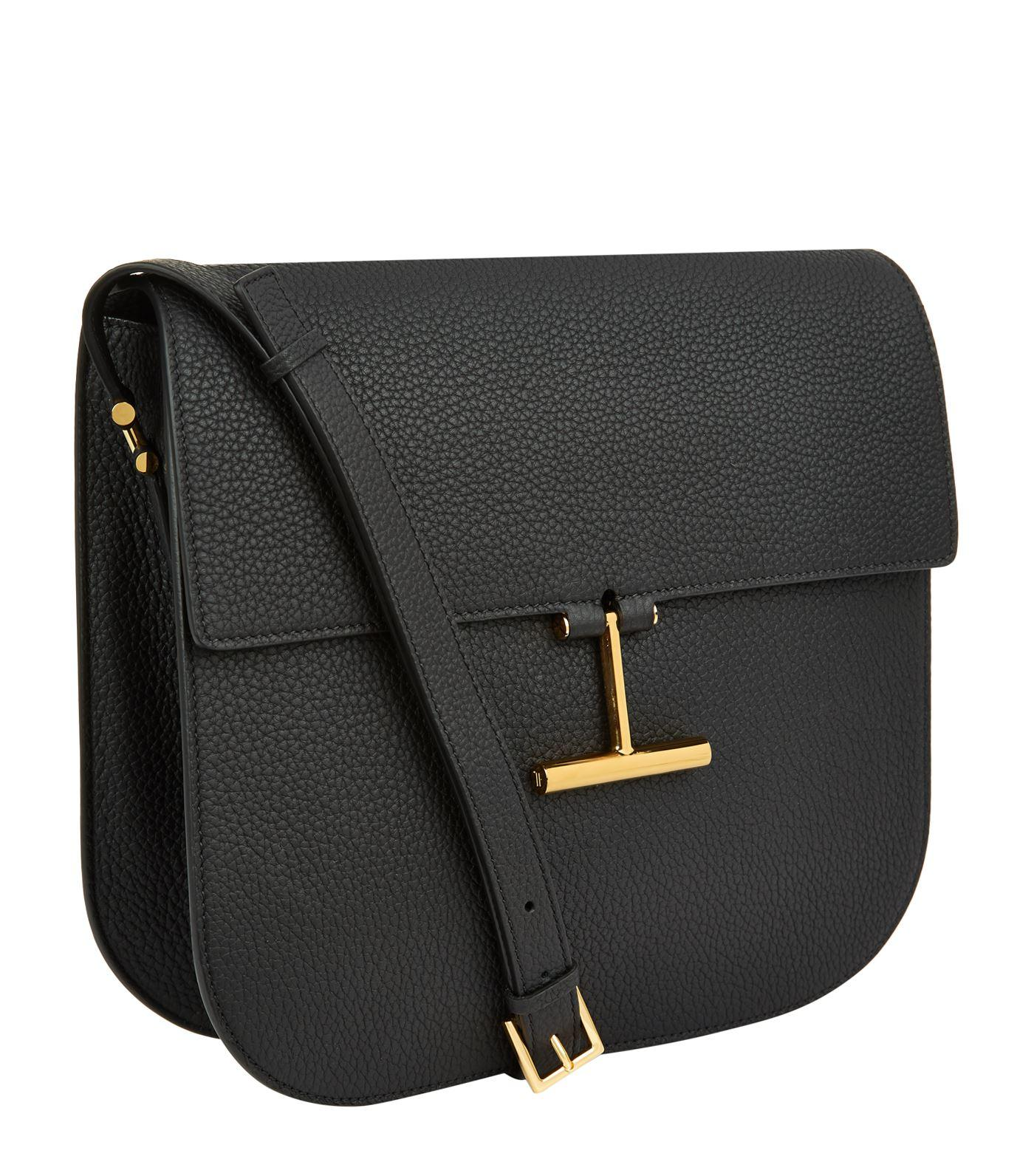 Tom Ford Leather T-clasp Crossbody Bag in Black