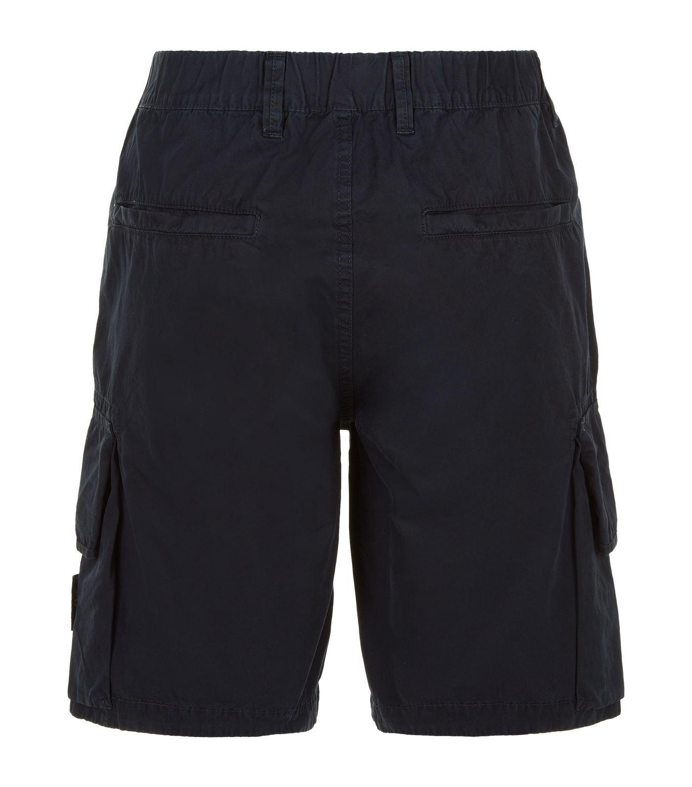 lyst stone island logo badge cargo shorts in blue for men. Black Bedroom Furniture Sets. Home Design Ideas