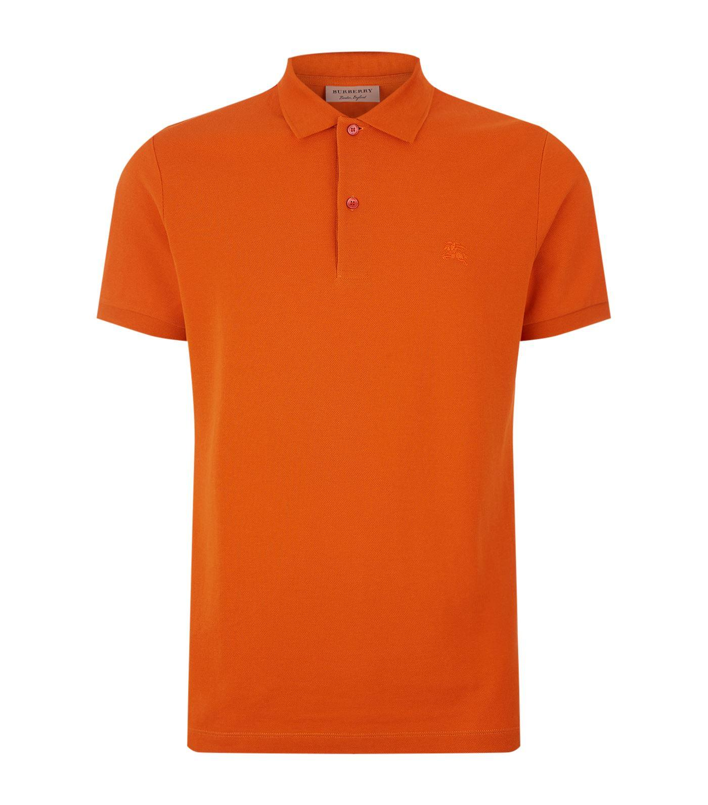 Lyst burberry embroidered logo polo shirt in orange for men for Orange polo shirt mens