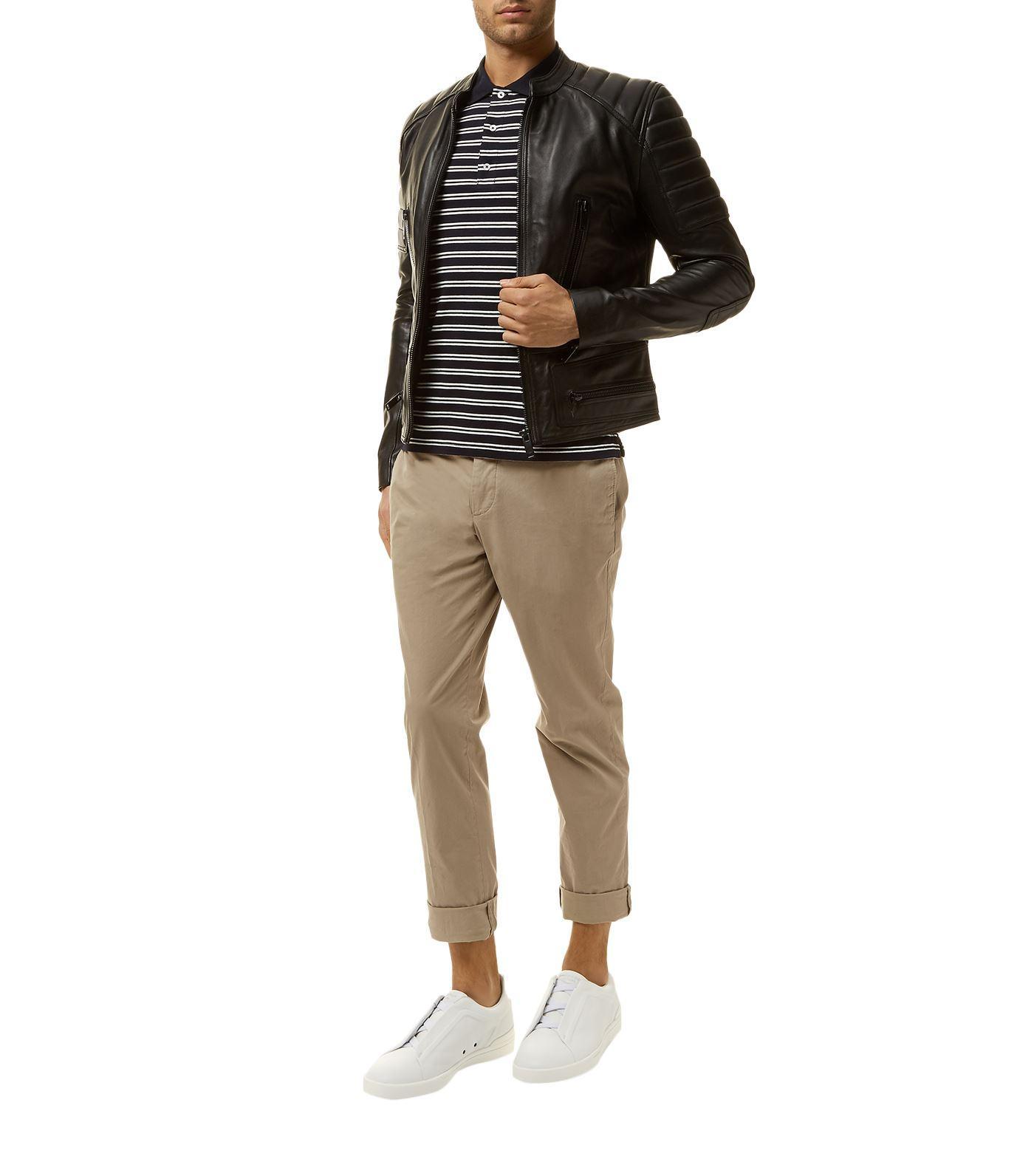 Sandro Leather Jacket in Black for Men