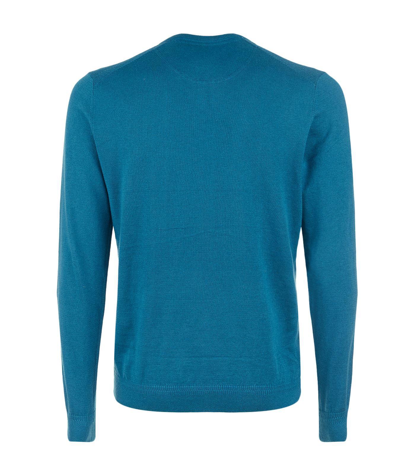 Ted Baker Cotton V-neck Jumper in Blue for Men