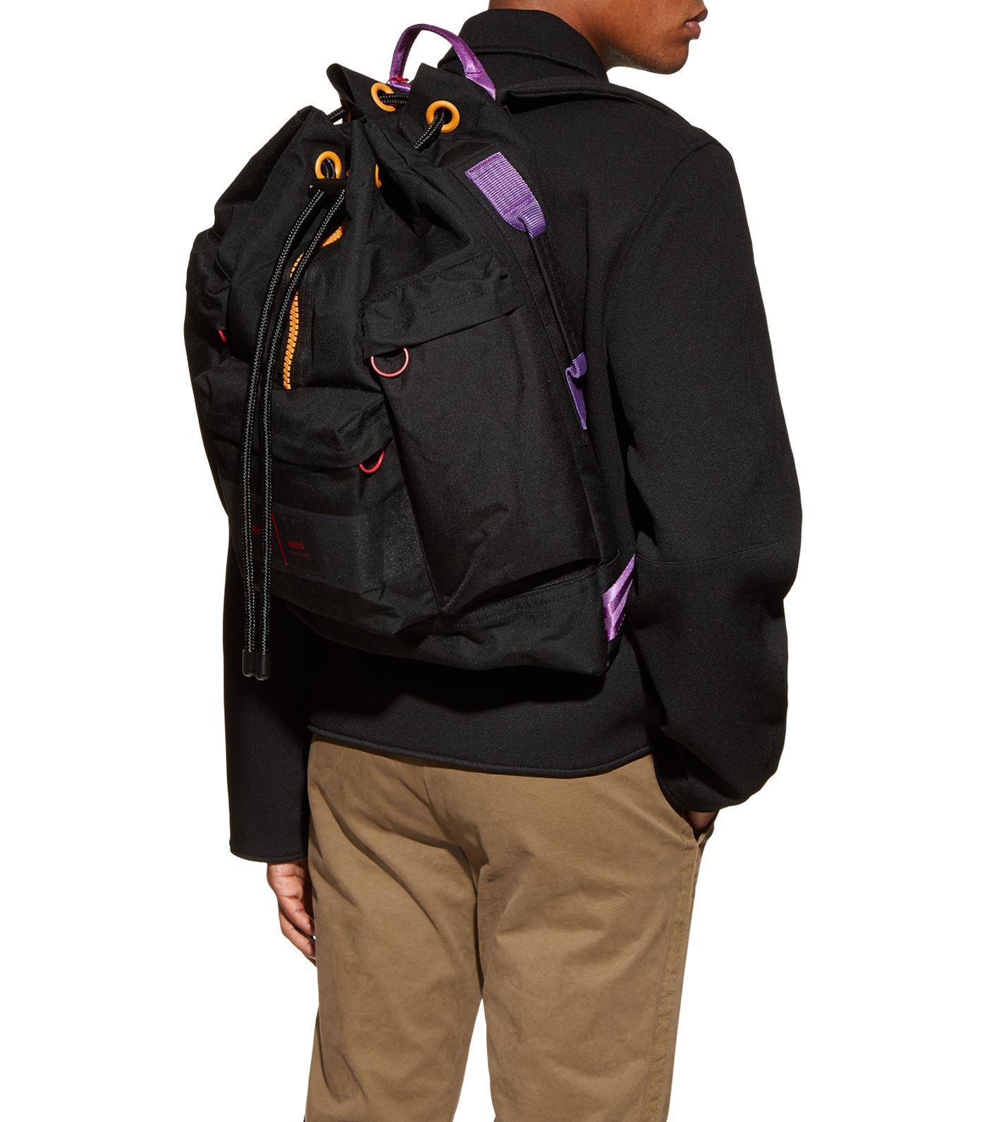 AMI Synthetic Porter Contrast-trim Nylon Backpack in Black for Men