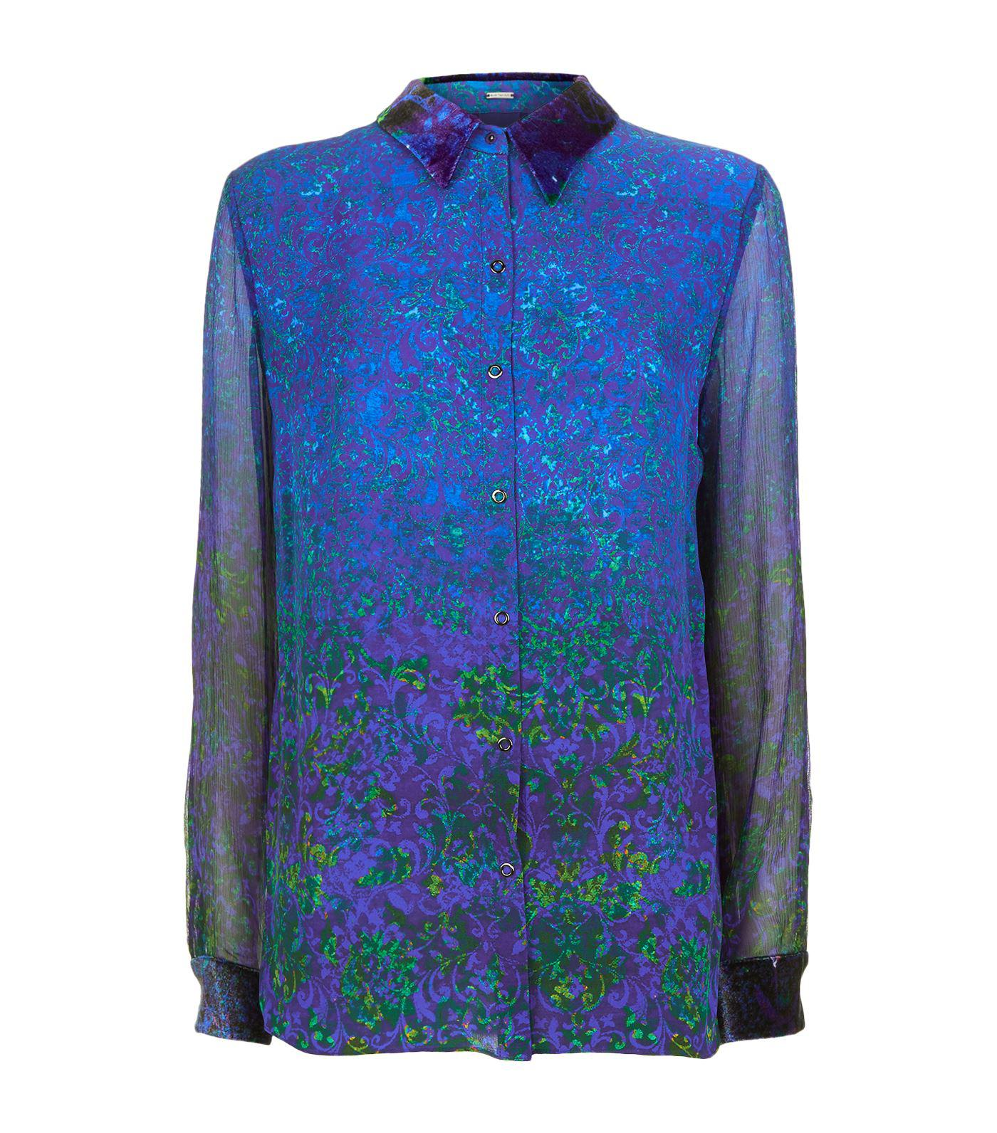 eda194e52c1dd6 Lyst - Elie Tahari Martha Printed Blouse in Blue