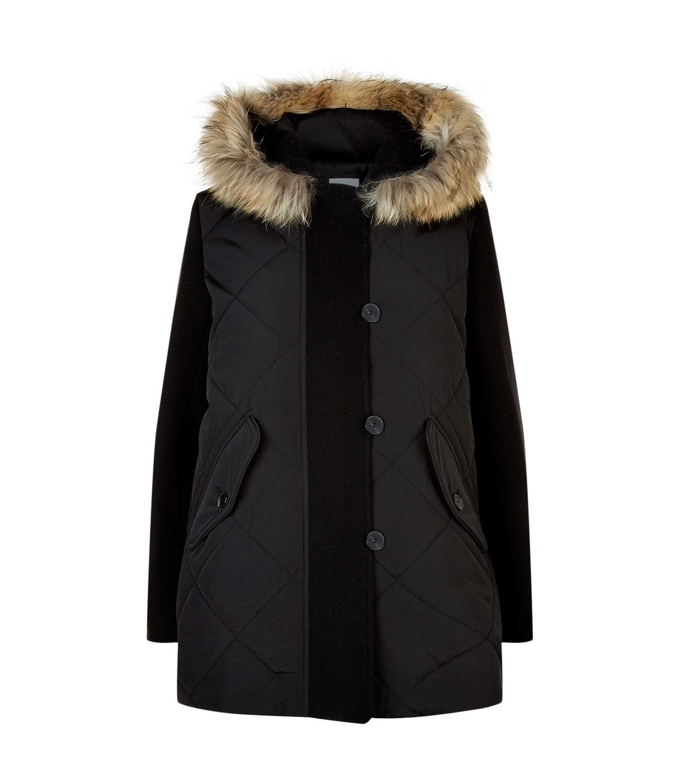 Sandro Fur Trim Hooded Coat In Black