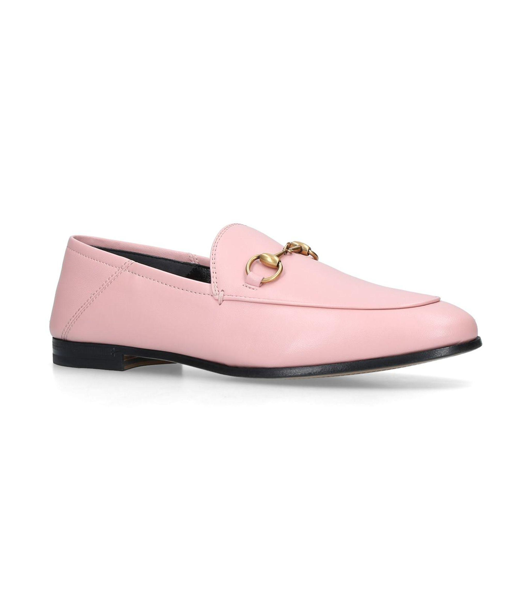 pink loafers gucci