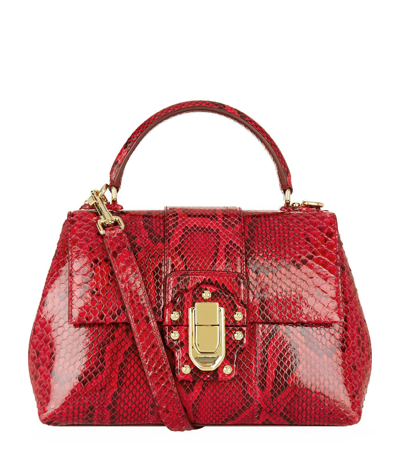 f73ee4bac053 Dolce   Gabbana Lucia Python Top Handle Bag in Red - Save 40.0% - Lyst