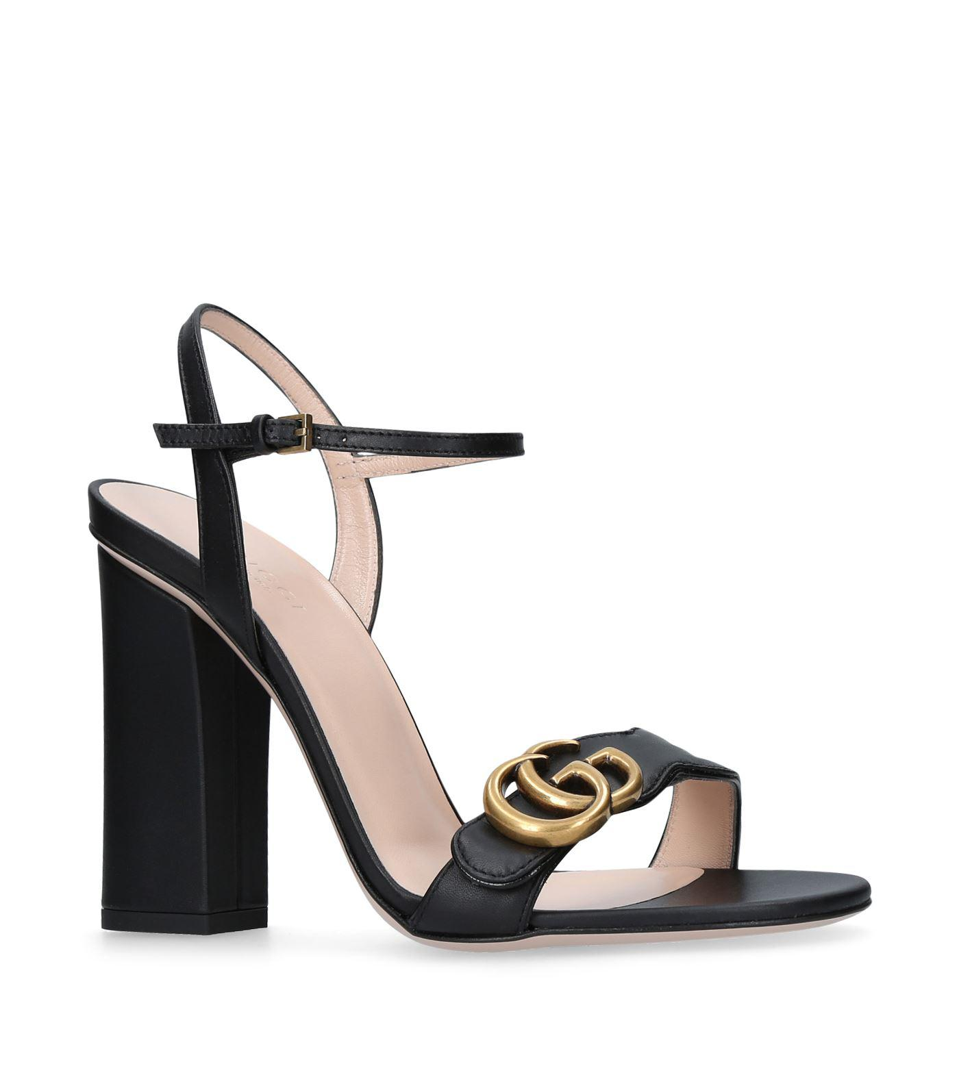 8e7b30eb9a5c60 Gucci Marmont 105 Leather Sandals in Black - Lyst