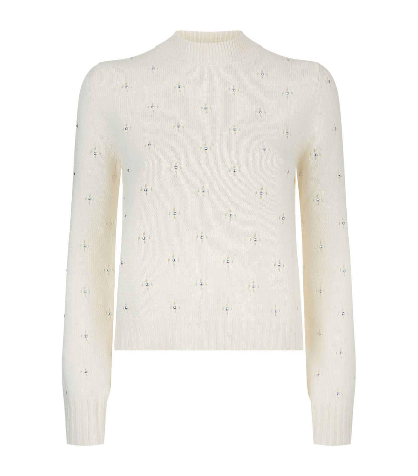 Red valentino Stud Embellished Sweater in White | Lyst