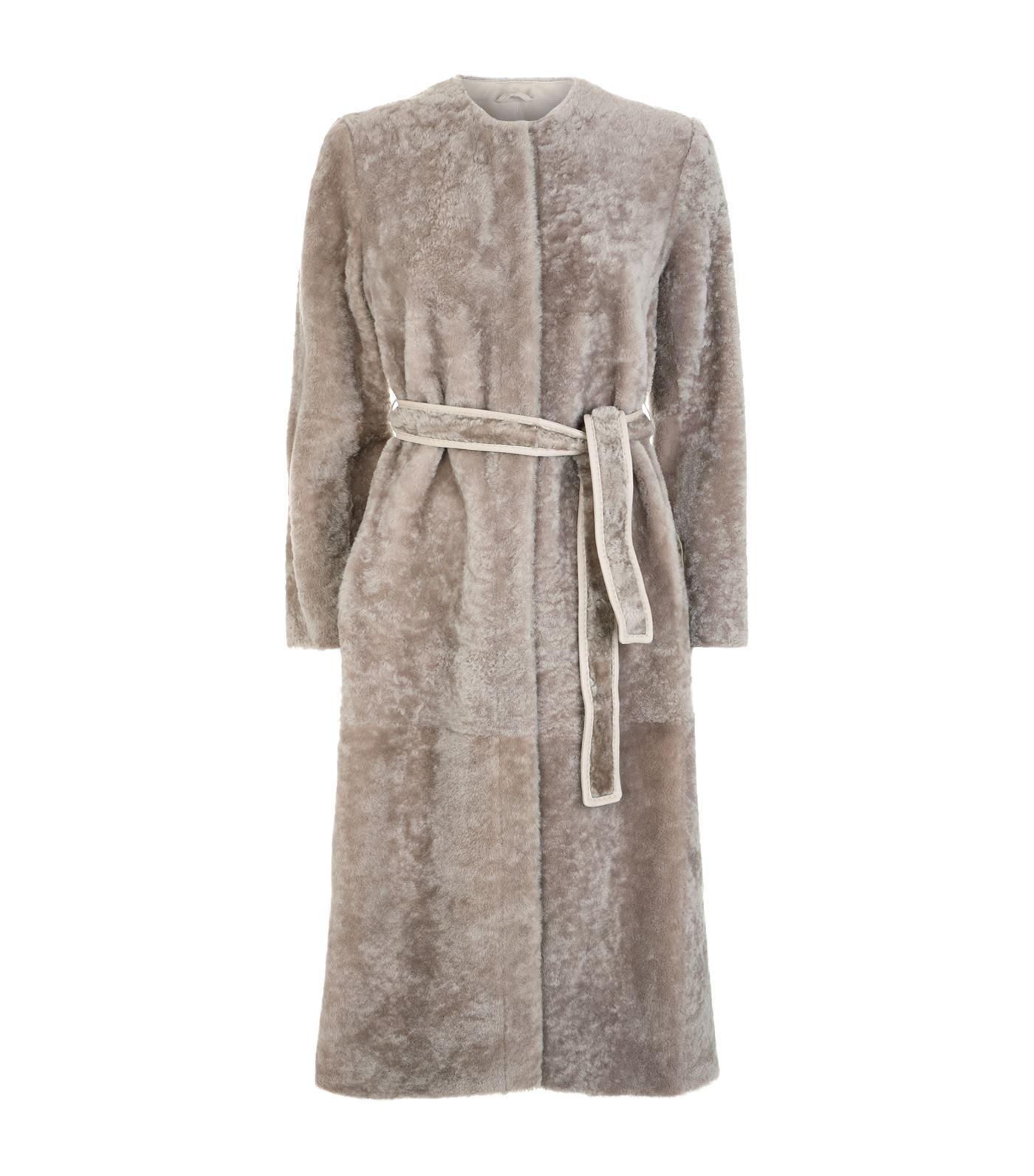 Max Mara Legume Collarless Shearling Coat In White Lyst