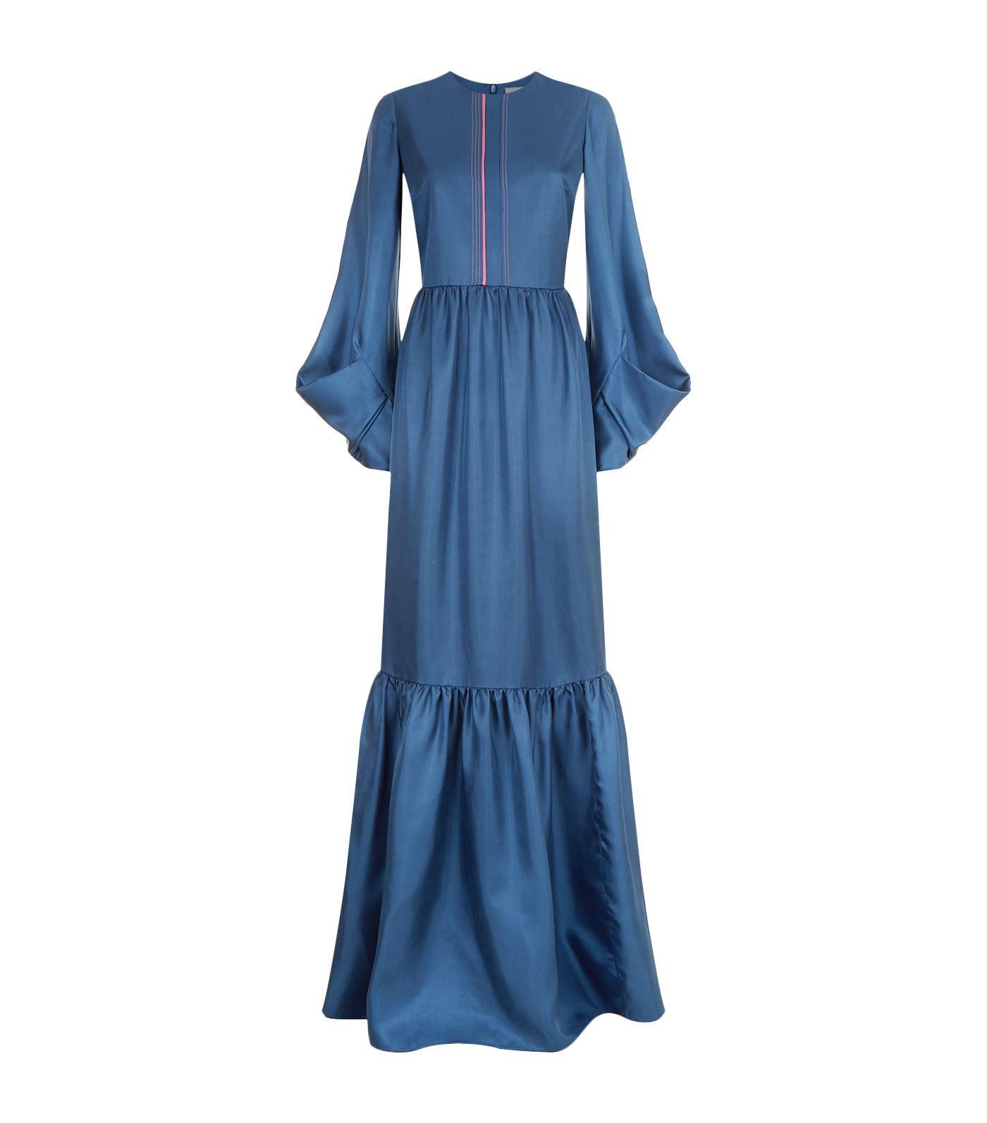 Fashion Style Sale Popular ruchéd sleeve evening dress - Blue Roksanda Ilincic Largest Supplier Sale Online Shop Offer Sale Online qjqrr7zz