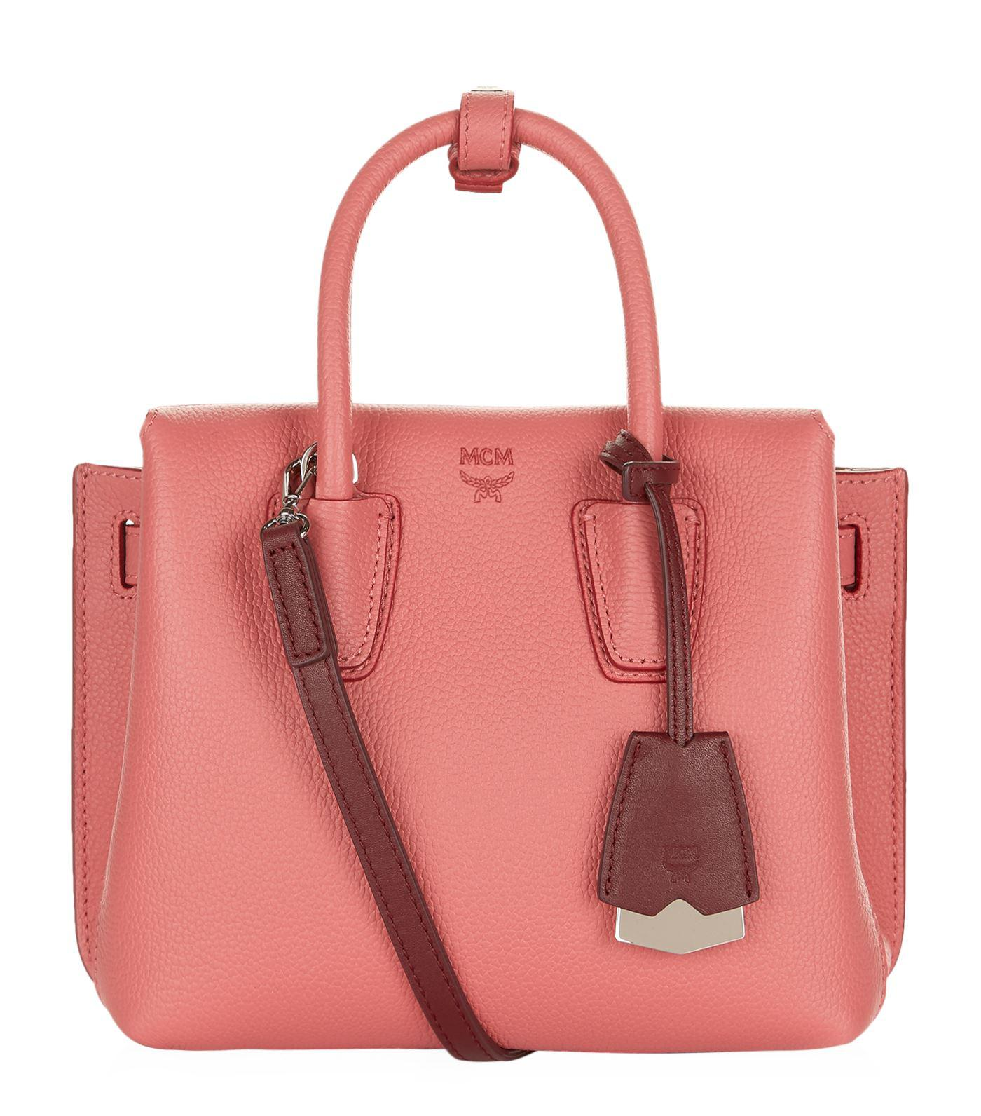 MCM Leather Milla Tote in Pink & Purple (Pink)