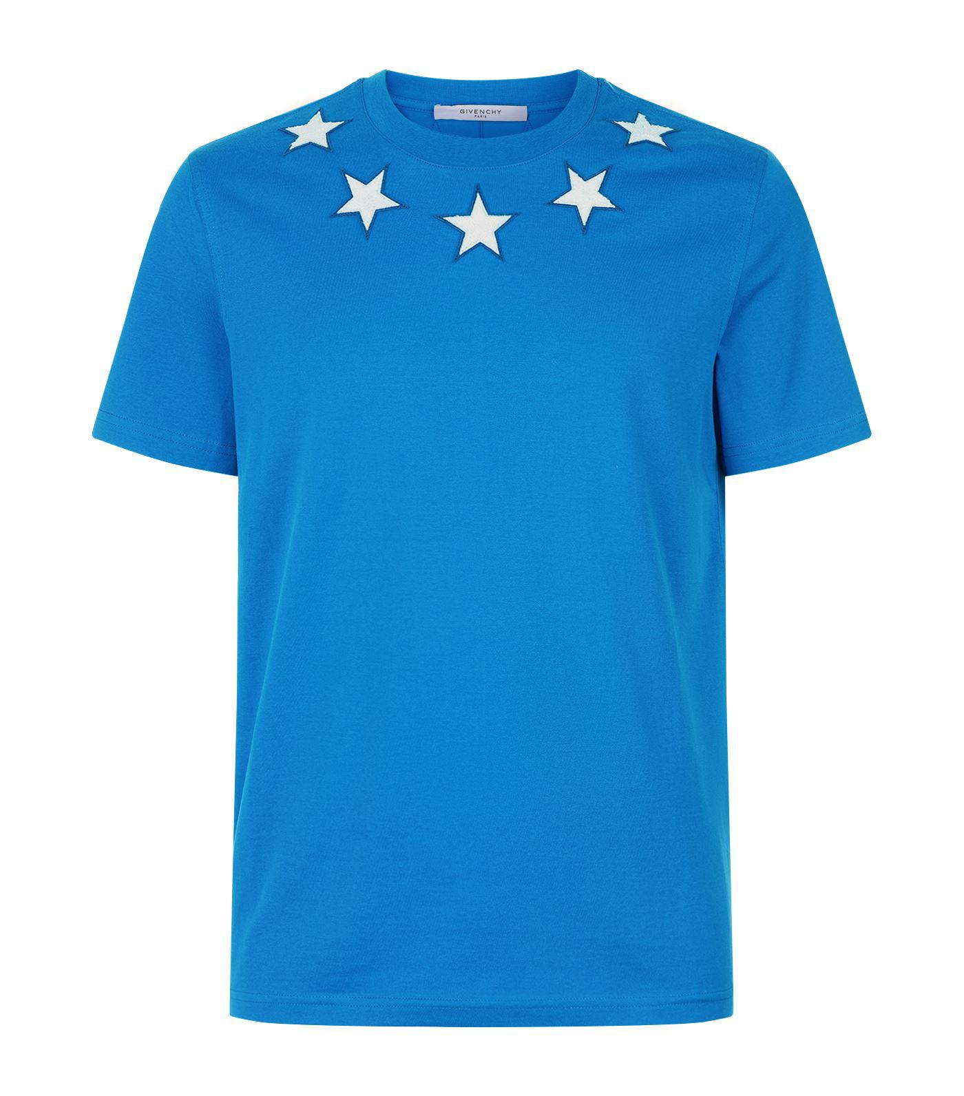 Lyst givenchy star appliqu t shirt in blue for men for Givenchy 5 star shirt