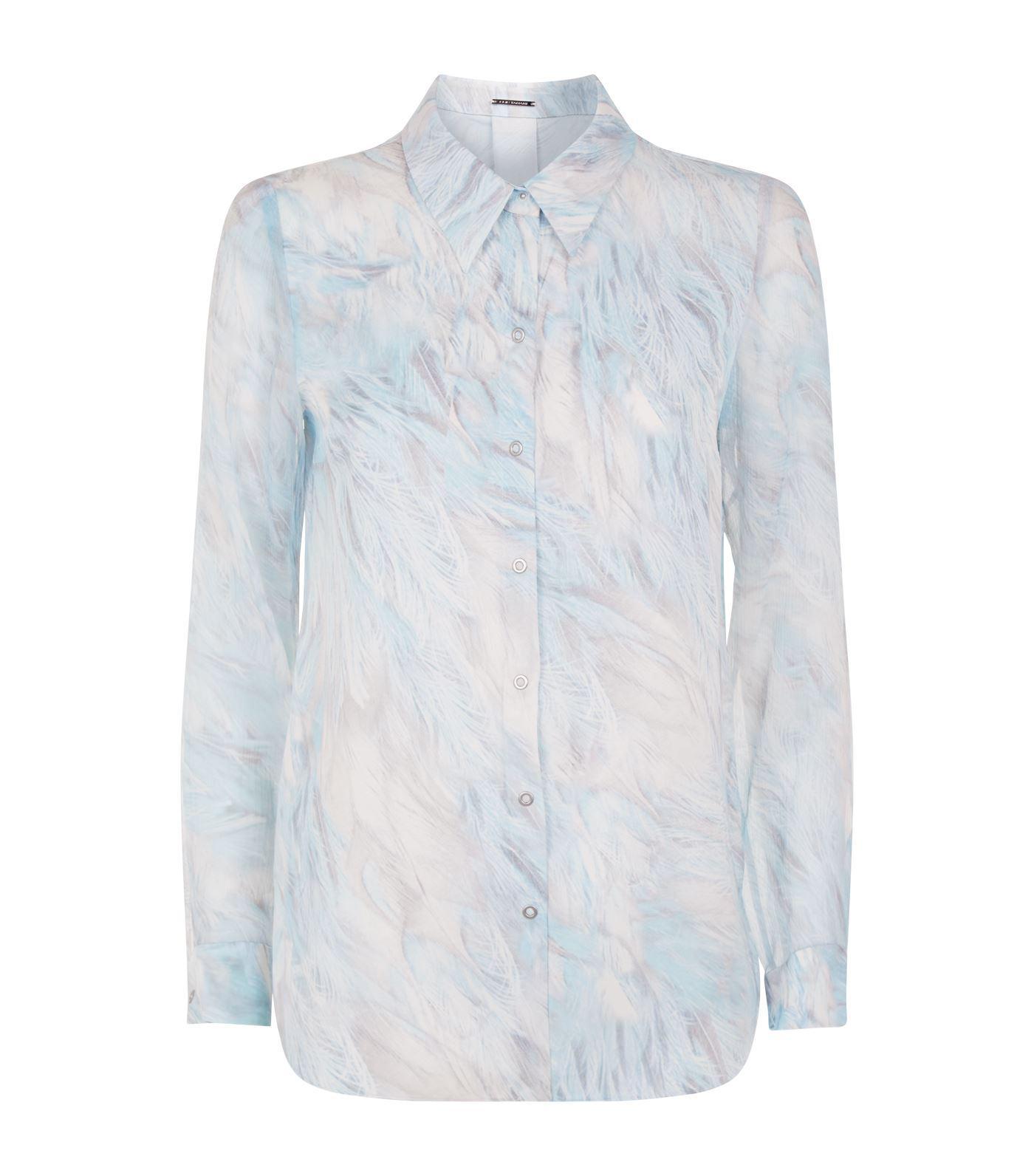 b520dd2177adbf Lyst - Elie Tahari Martha Feather Print Blouse in Blue