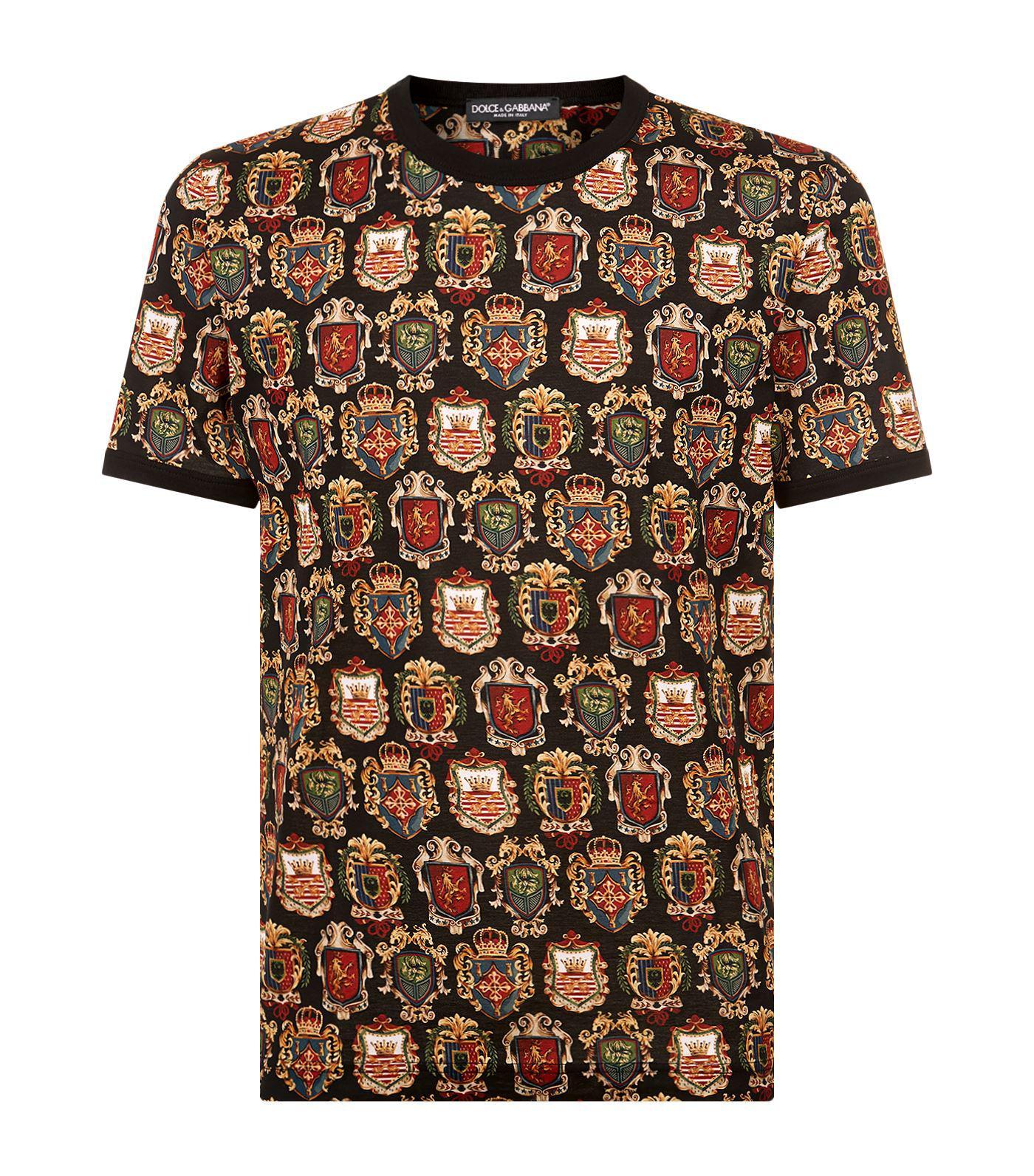 Lyst dolce gabbana heraldic printed t shirt for men for Dolce and gabbana printed t shirts