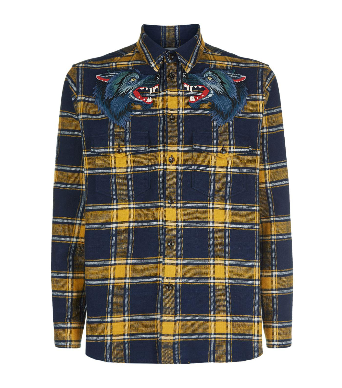 a37a4860 Gucci Wolf Patch Check Shirt in Yellow for Men - Lyst