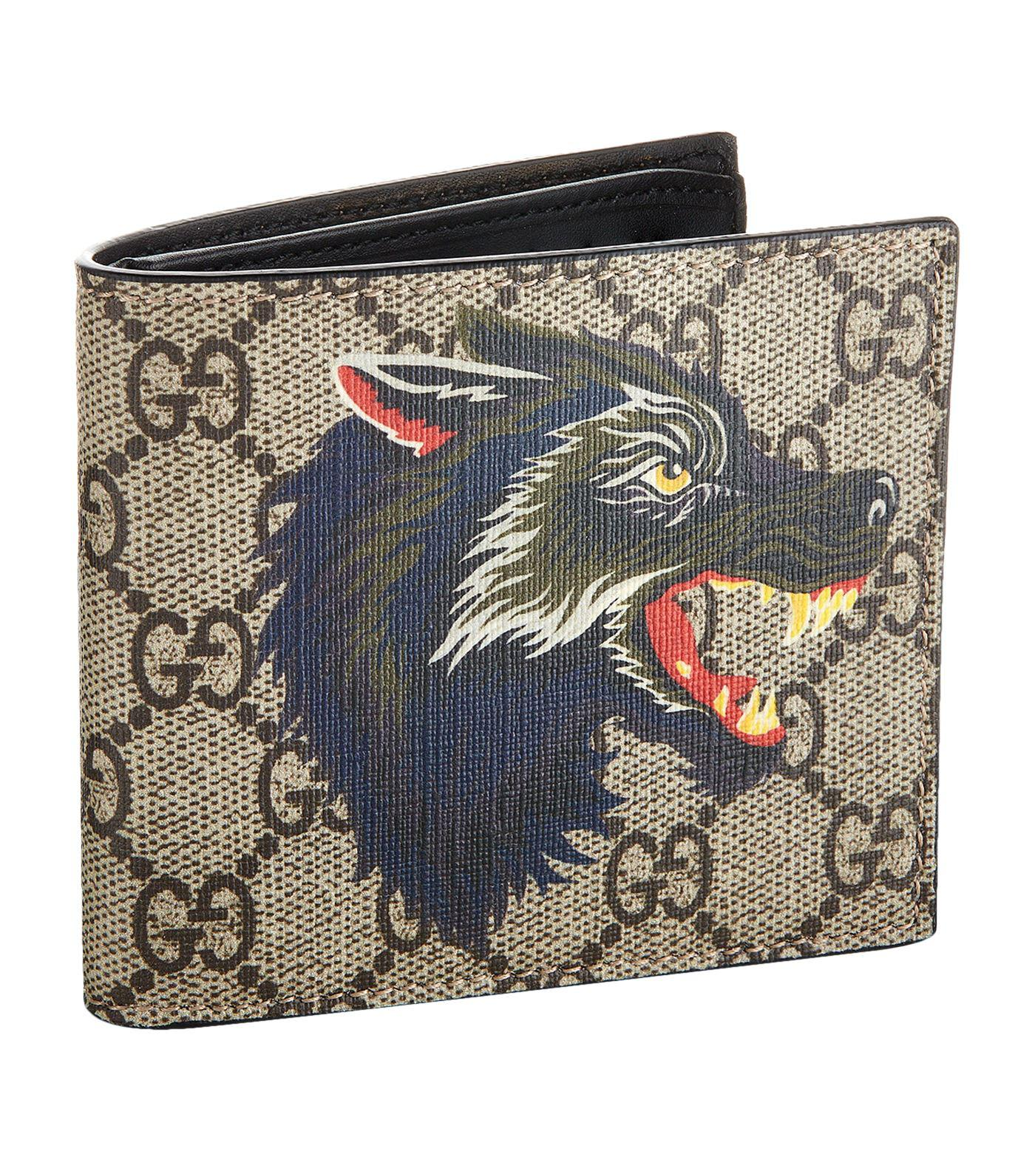 9a9c97302e7 Lyst - Gucci Wolf Bifold Wallet in Natural for Men