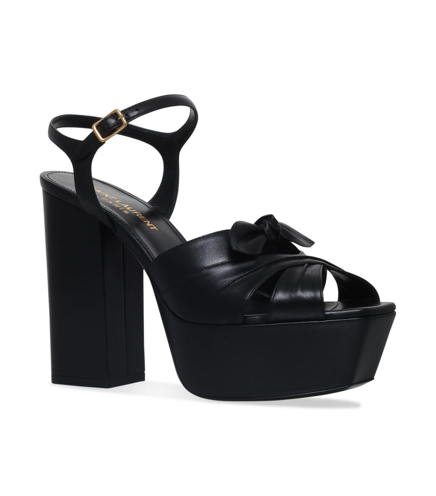 b45370bffe7 Lyst - Saint Laurent Farrah Bow Sandals in Black - Save 15%