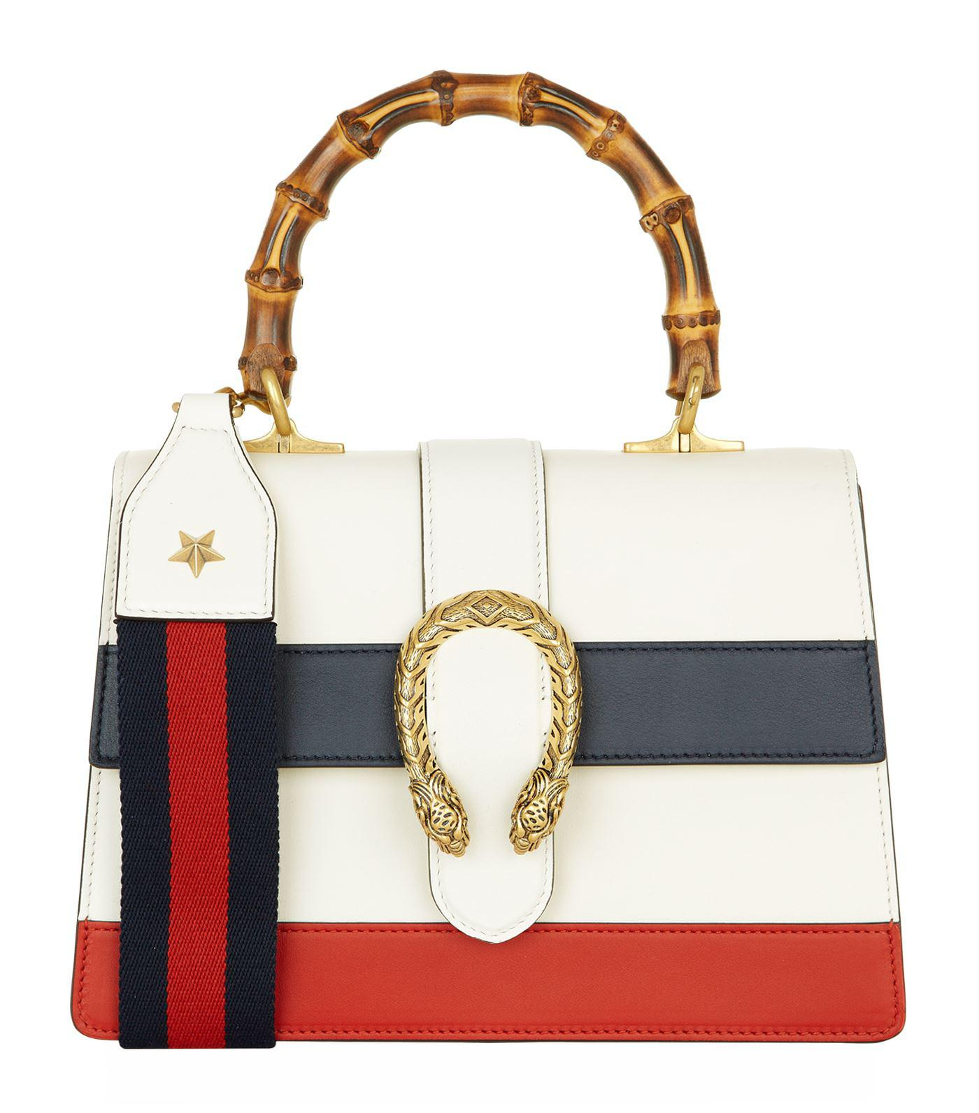 fd78946036a Gucci Medium Stripe Dionysus Bamboo Top Handle Bag in White - Lyst