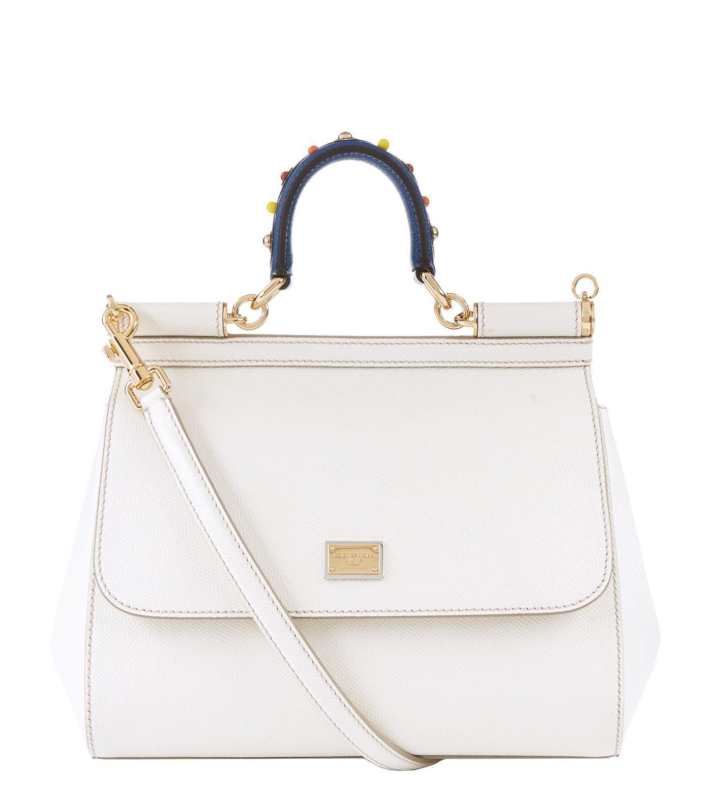 2341e1fd2a1d Dolce   Gabbana Medium Leather Appliqu Handle Sicily Bag in White - Lyst