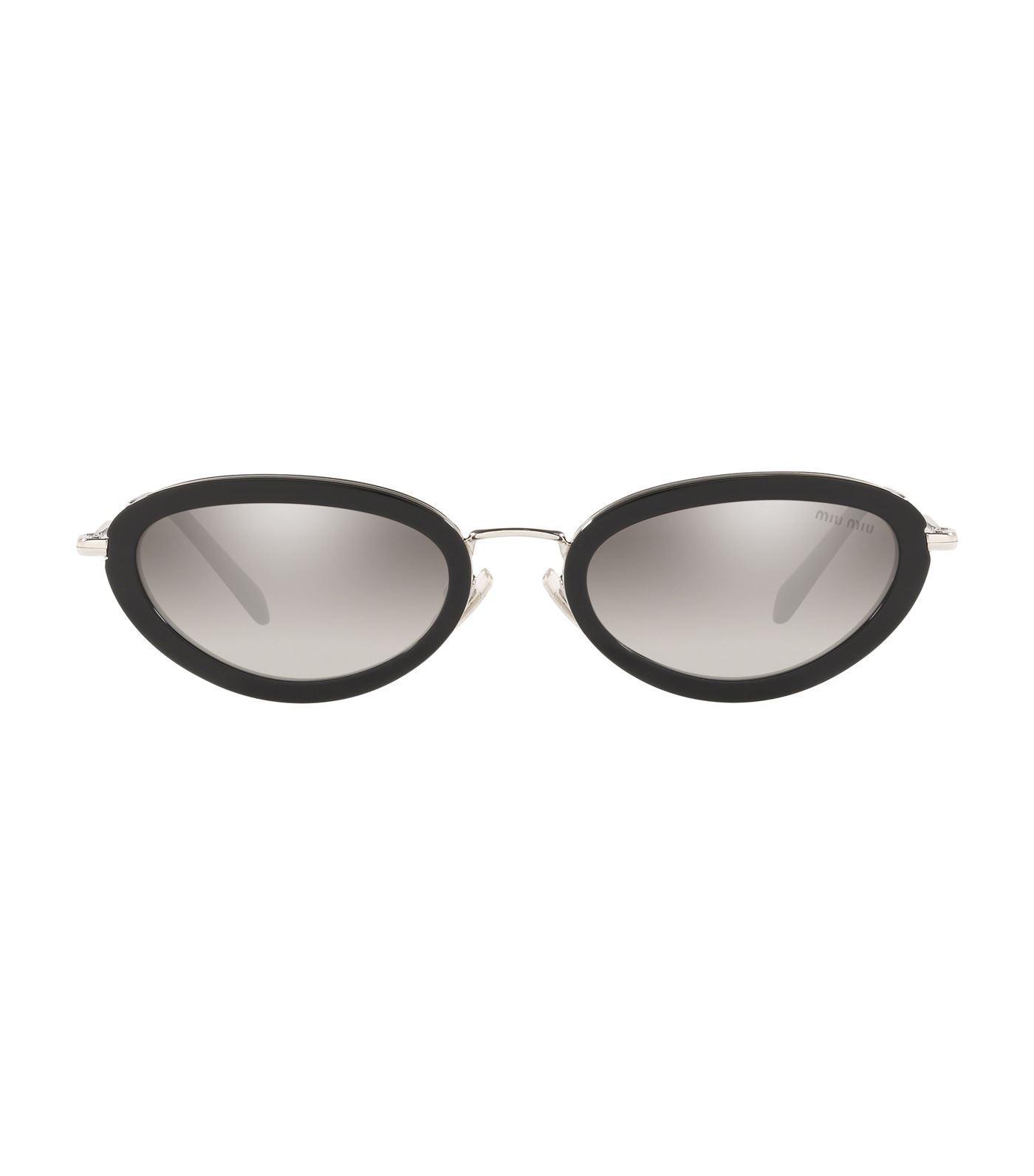 181371d8368d1 Miu Miu Dlice Oval Sunglasses in Black - Lyst
