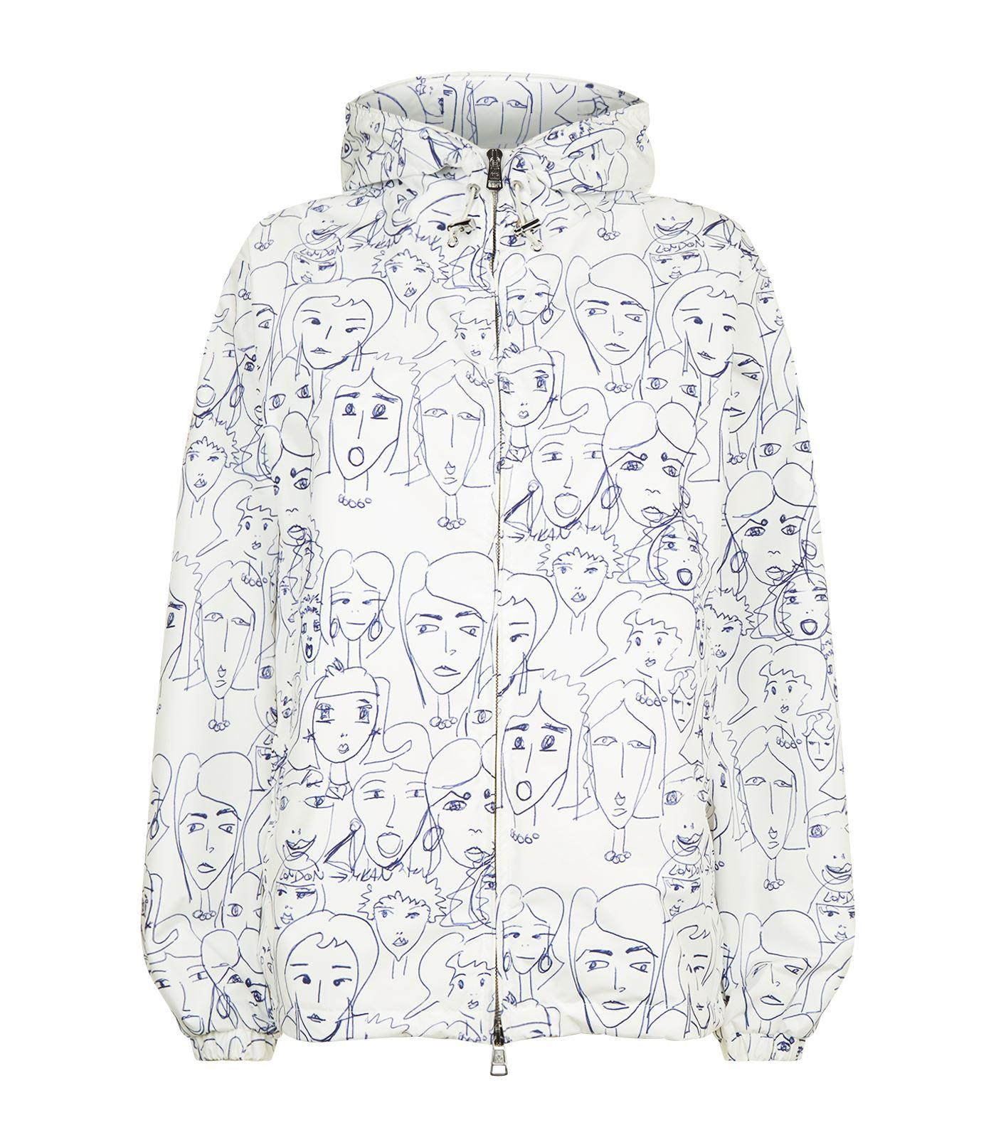 c94e8b8f9 Moncler Alexandrite Face Doodle Hooded Jacket in Blue - Lyst
