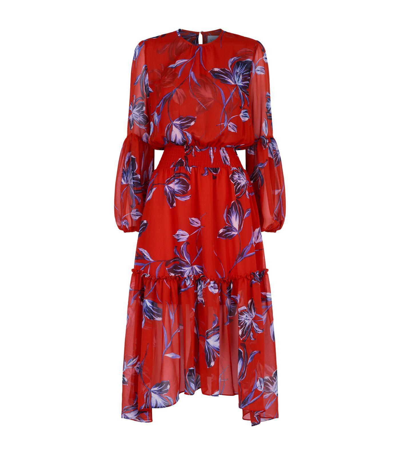 5a9ddd61769b0f MISA Simone Floral Midi Dress in Red - Lyst
