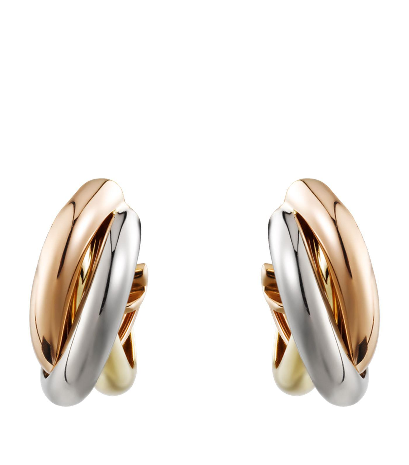 women cartier diamond s in metallic de trinity jewelry earrings stud gold large lyst