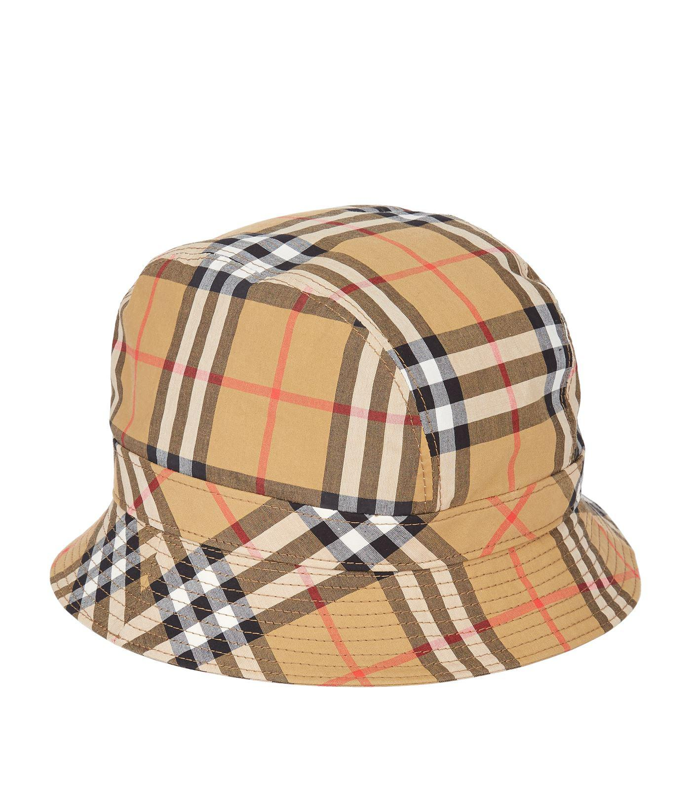Lyst - Burberry Vintage Check Bucket Hat in Yellow 667c830129f