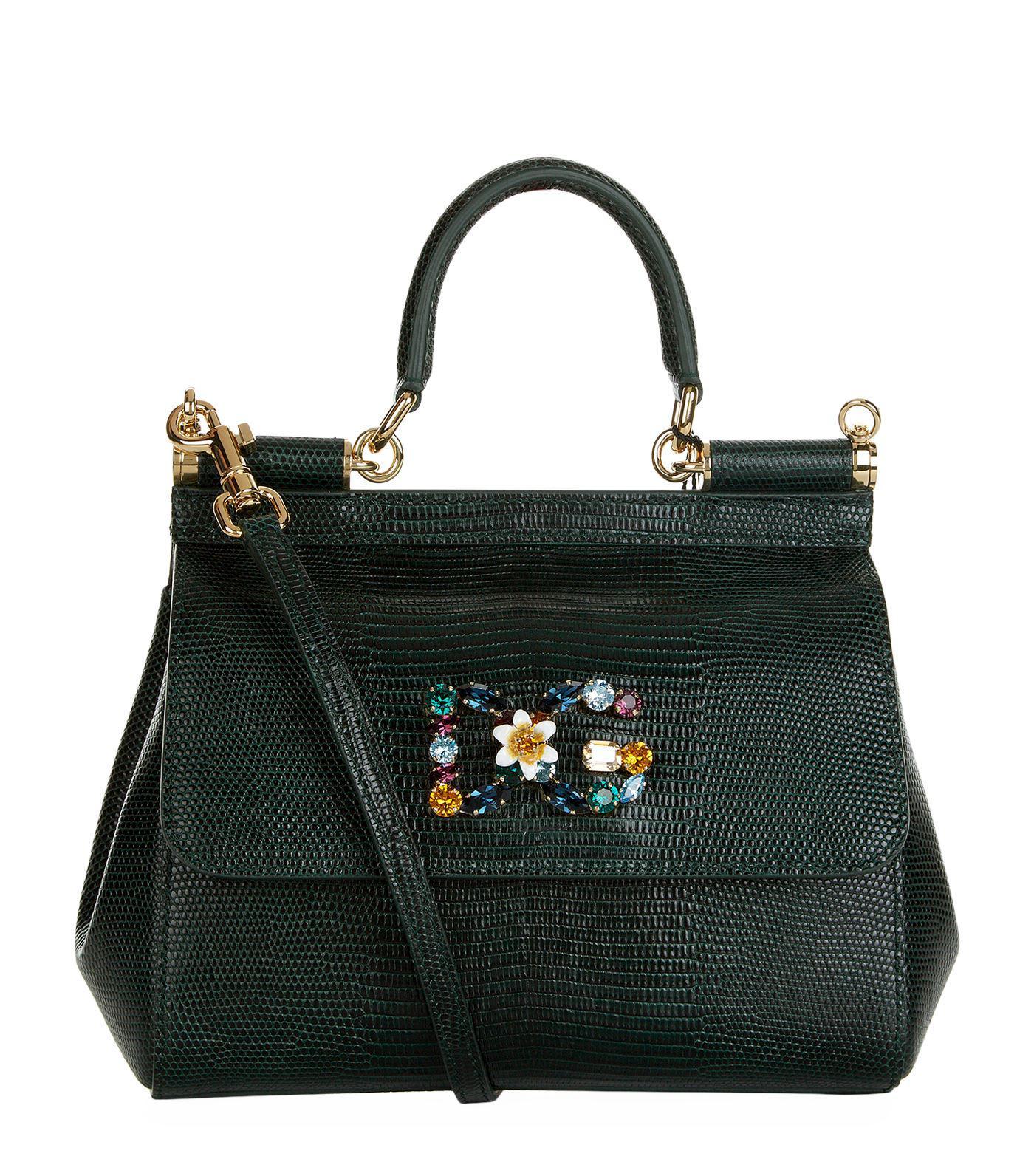 92154cf9b663 Dolce   Gabbana. Women s Black Small Leather Iguana Print Sicily Bag