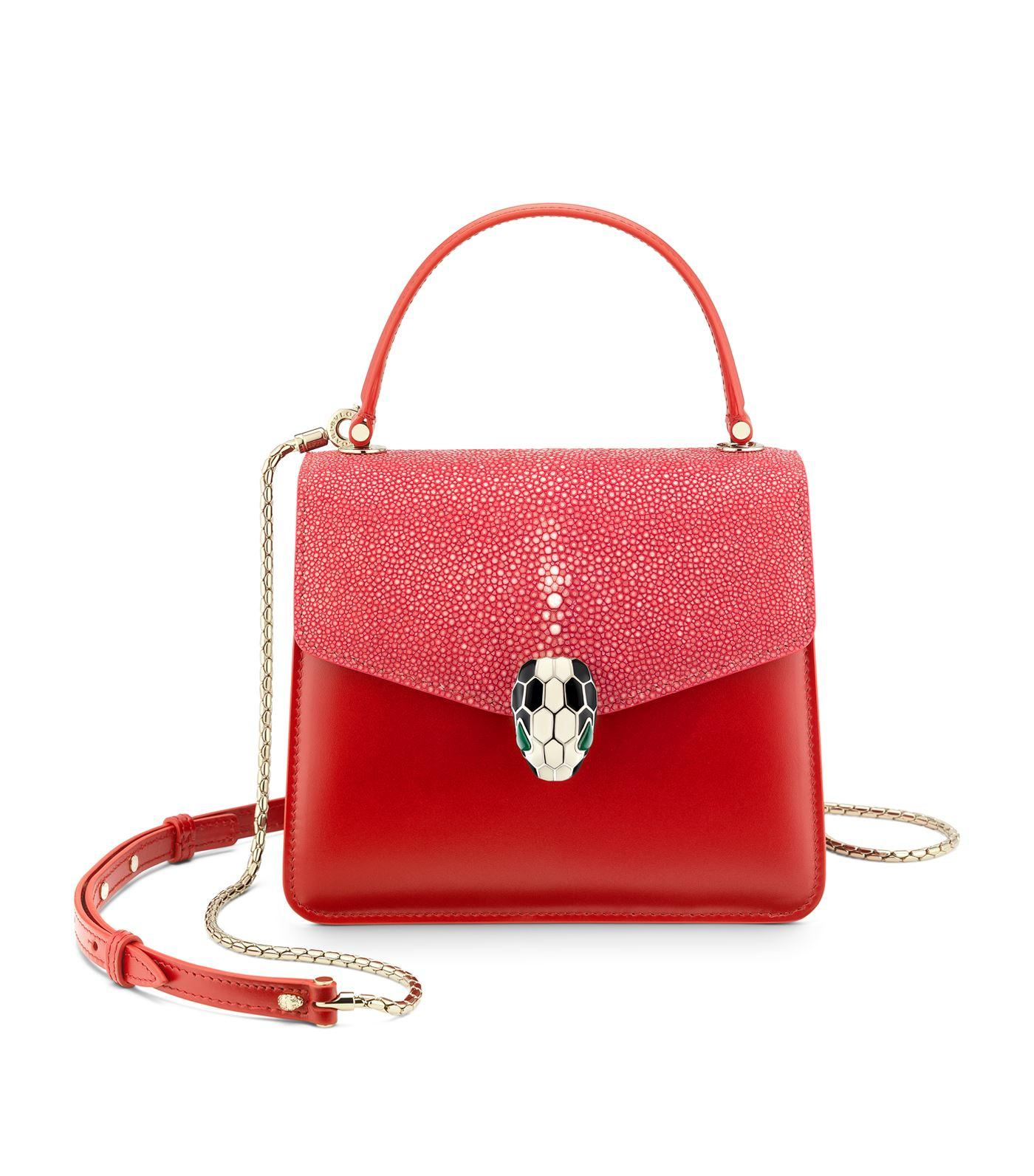 209a645fcb81 BVLGARI Galuchat Serpenti Forever Top Handle Bag in Red - Lyst