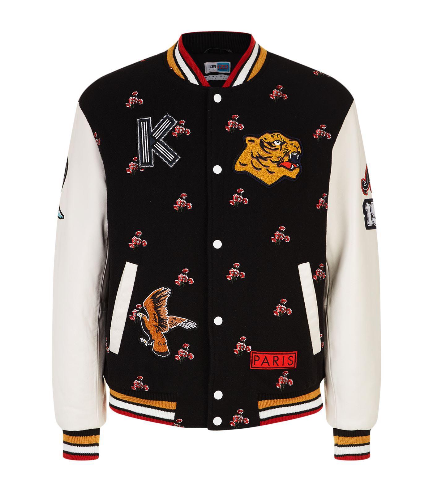 KENZO Cotton Floral Tiger Patch Varsity Jacket in Black for Men