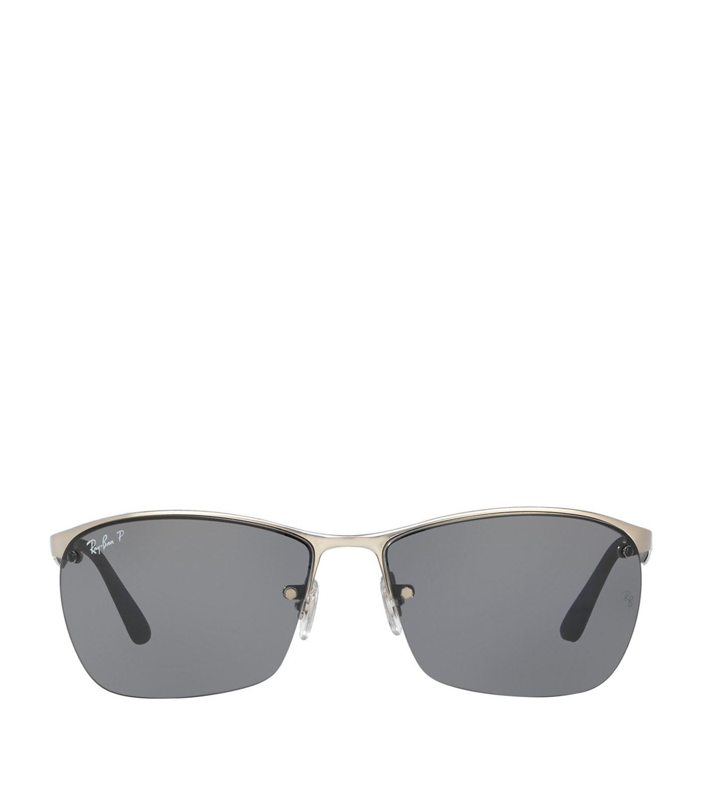 Ray-Ban Half-frame Sunglasses in Metallic - Lyst