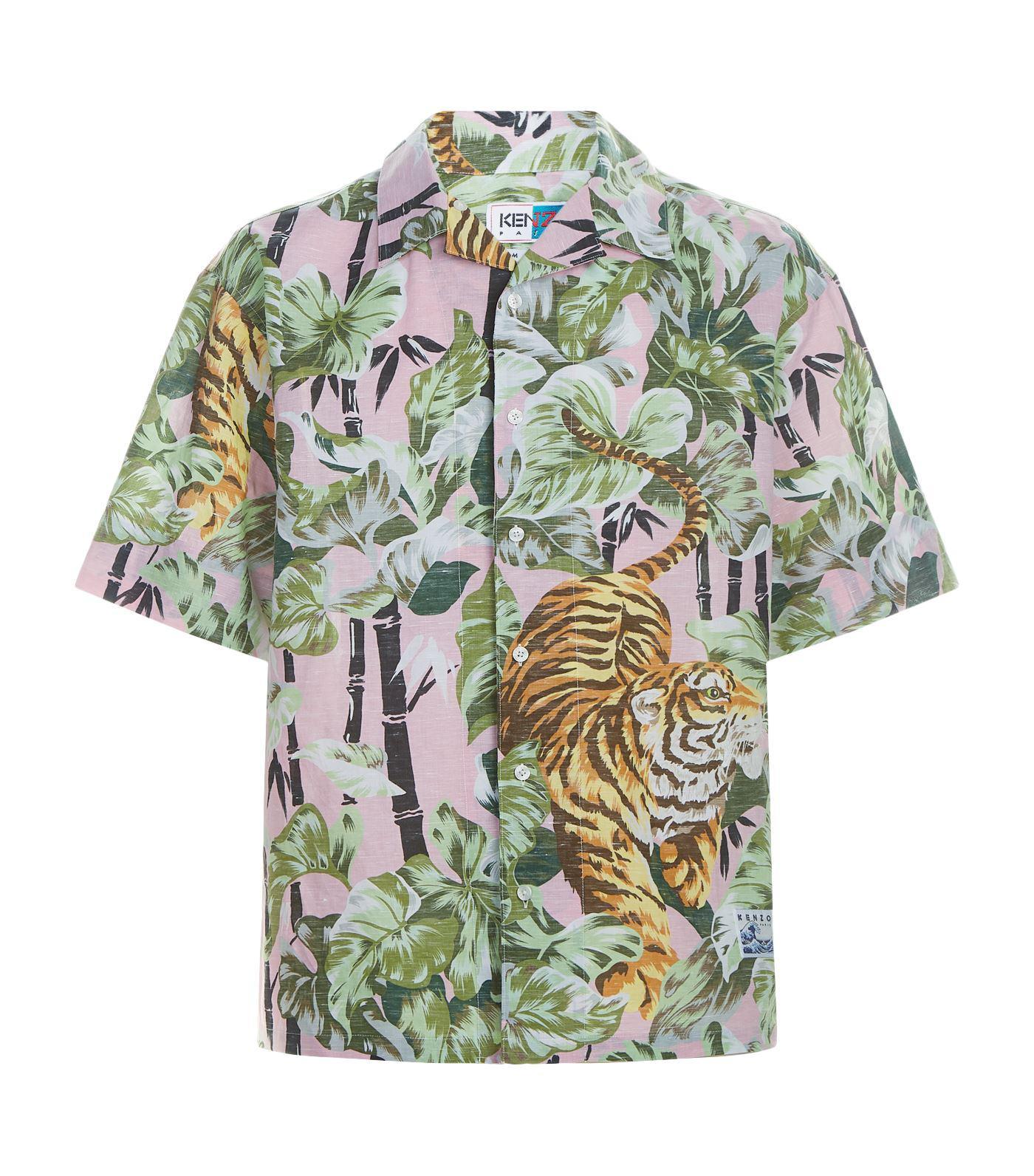 70c7fbce KENZO Bamboo Tiger Hawaiian Shirt in Pink for Men - Lyst