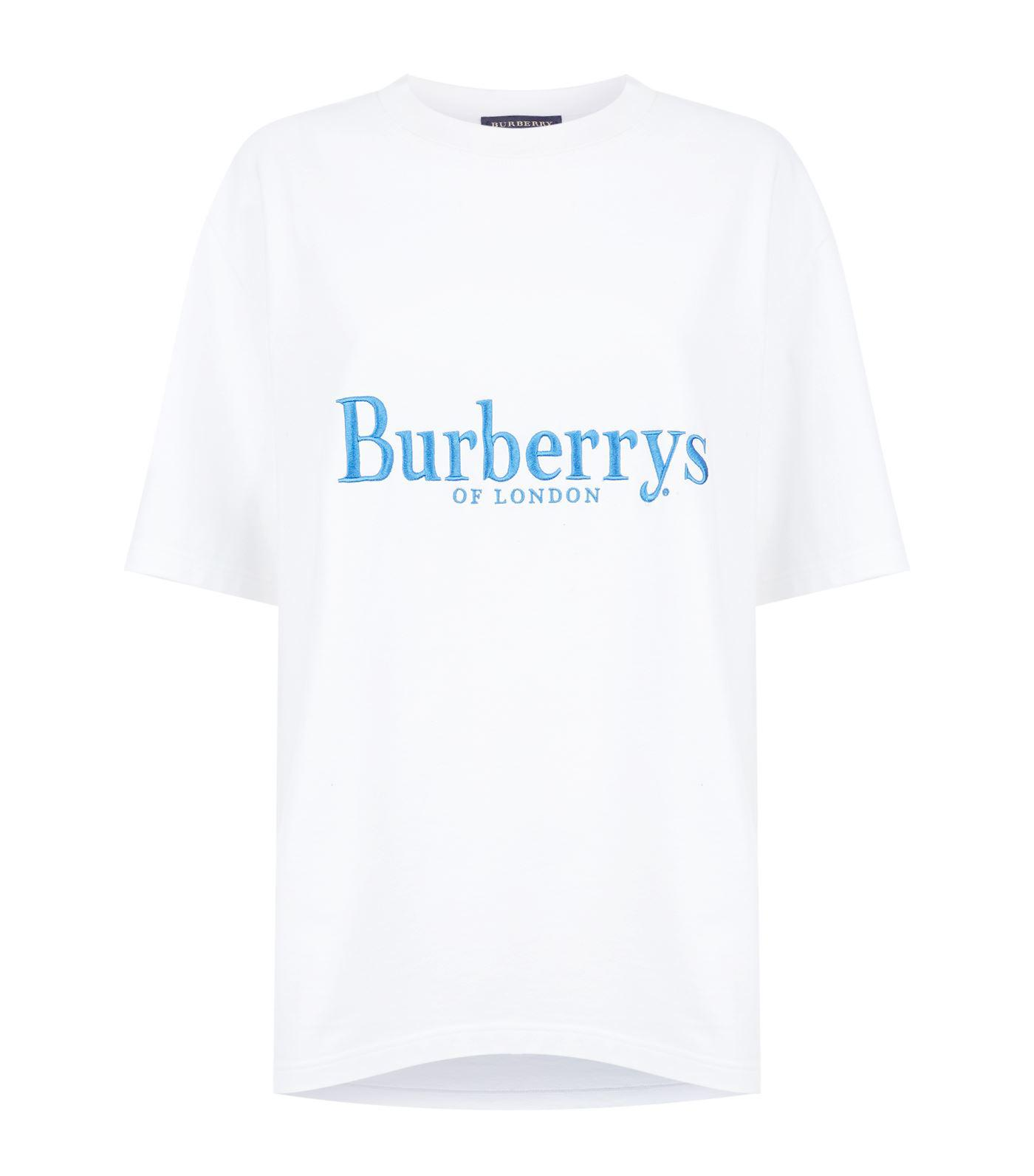 0bf44509 Burberry Embroidered Vintage Logo T-shirt in White for Men - Lyst