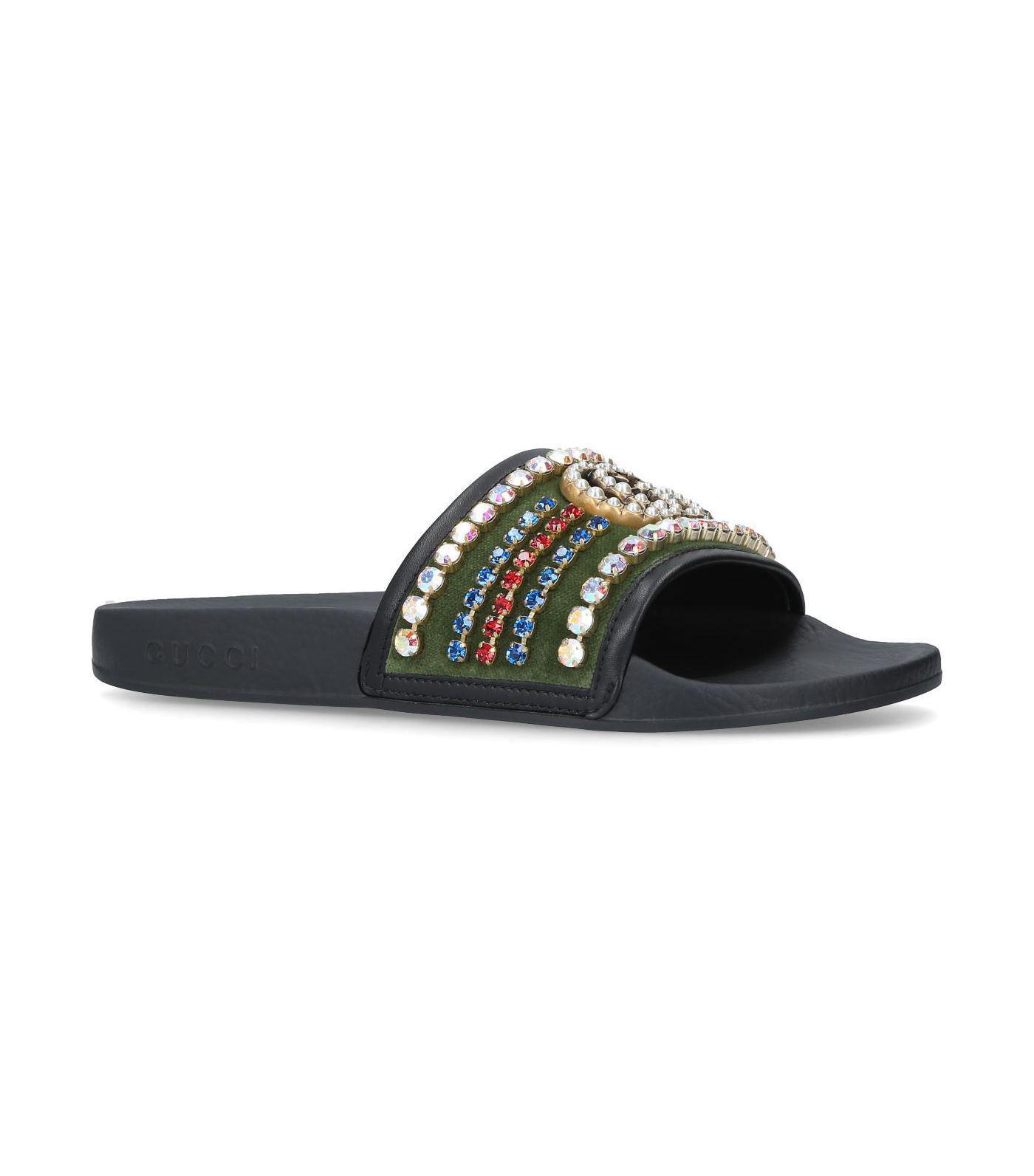 Gucci Velvet Embellished Pursuit Slides