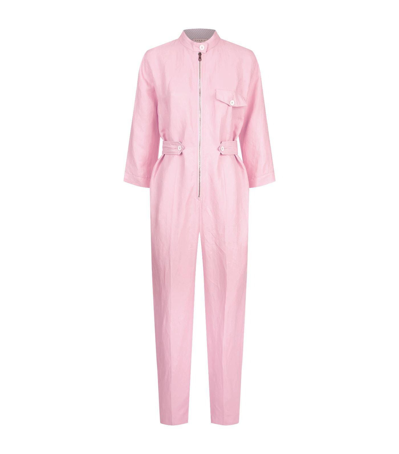 ec9a5ec4f495 Sandro Zipped Slim-leg Jumpsuit in Pink - Lyst