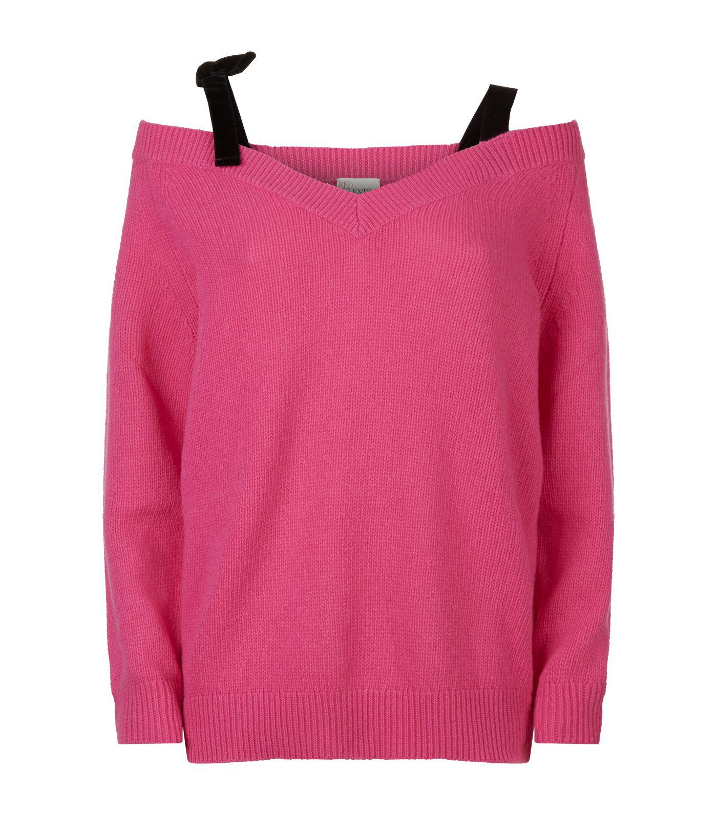 a2a227b9e4 Red Valentino Off-the-shoulder Sweater in Pink - Lyst
