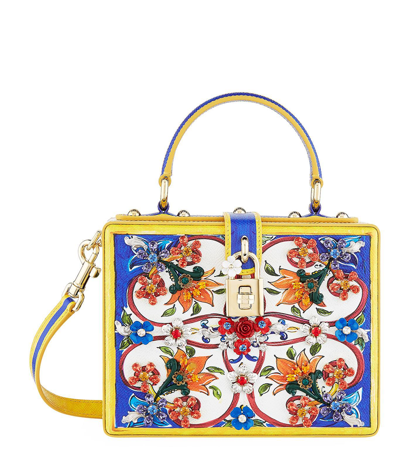 9cb7ea4b7a Dolce   Gabbana Embellished Majolica Top Handle Bag in Blue - Lyst