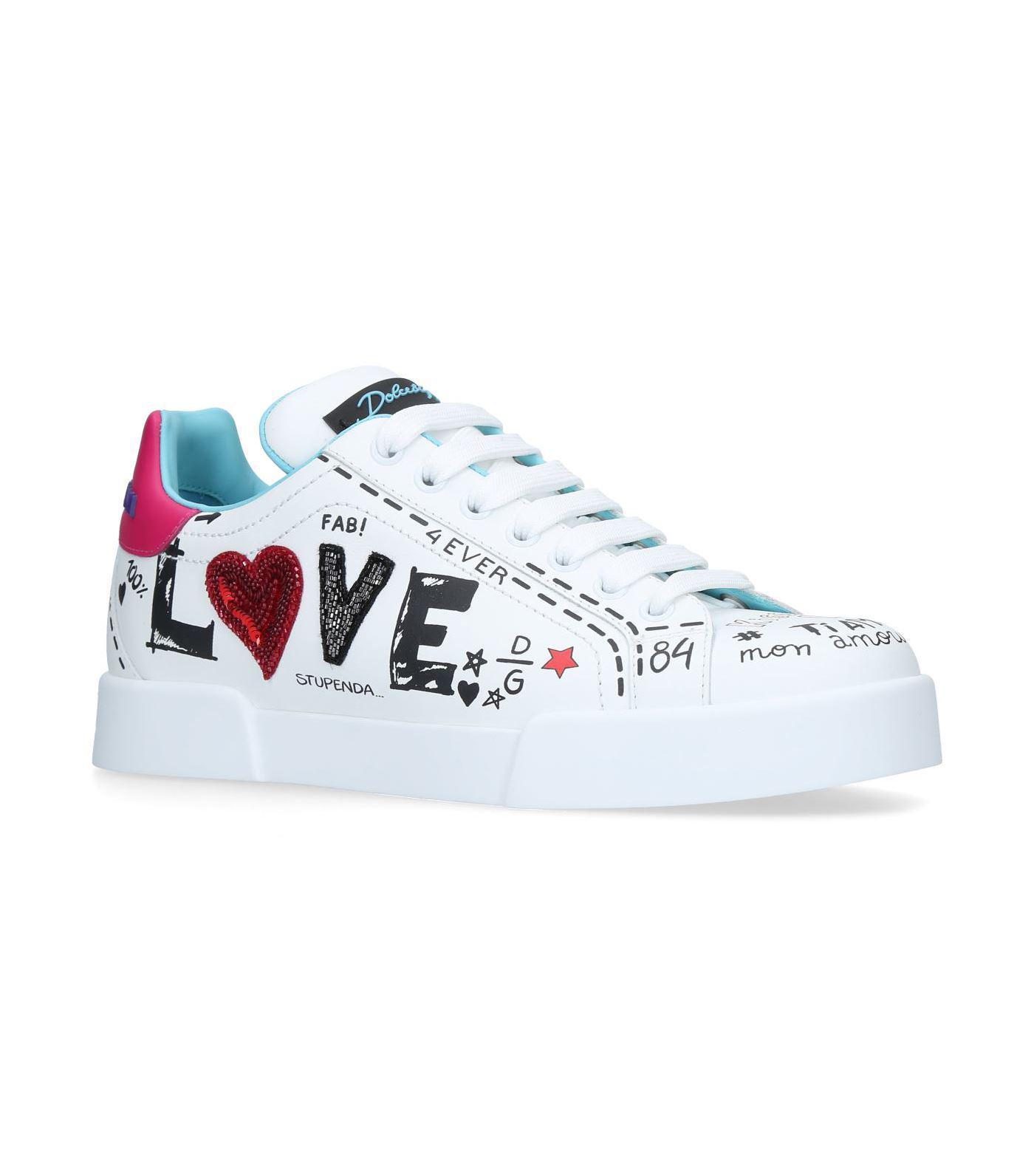 Dolce s white love graffiti logo sneakers