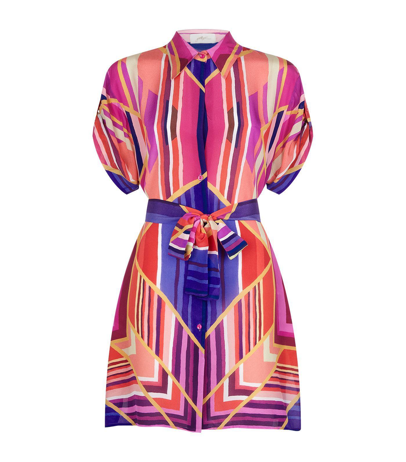12f70f16b35296 Gottex Art Deco Silk Shirt Dress - Lyst