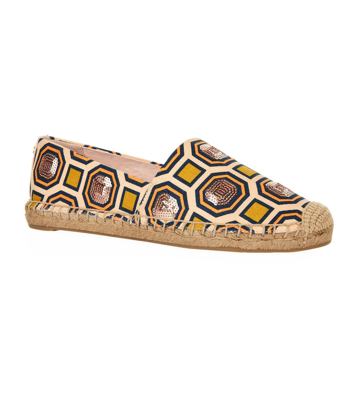 Tory Burch Designer Shoes, Cecily Ballet Octagon Square Canvas Embellished Flat Espadrilles