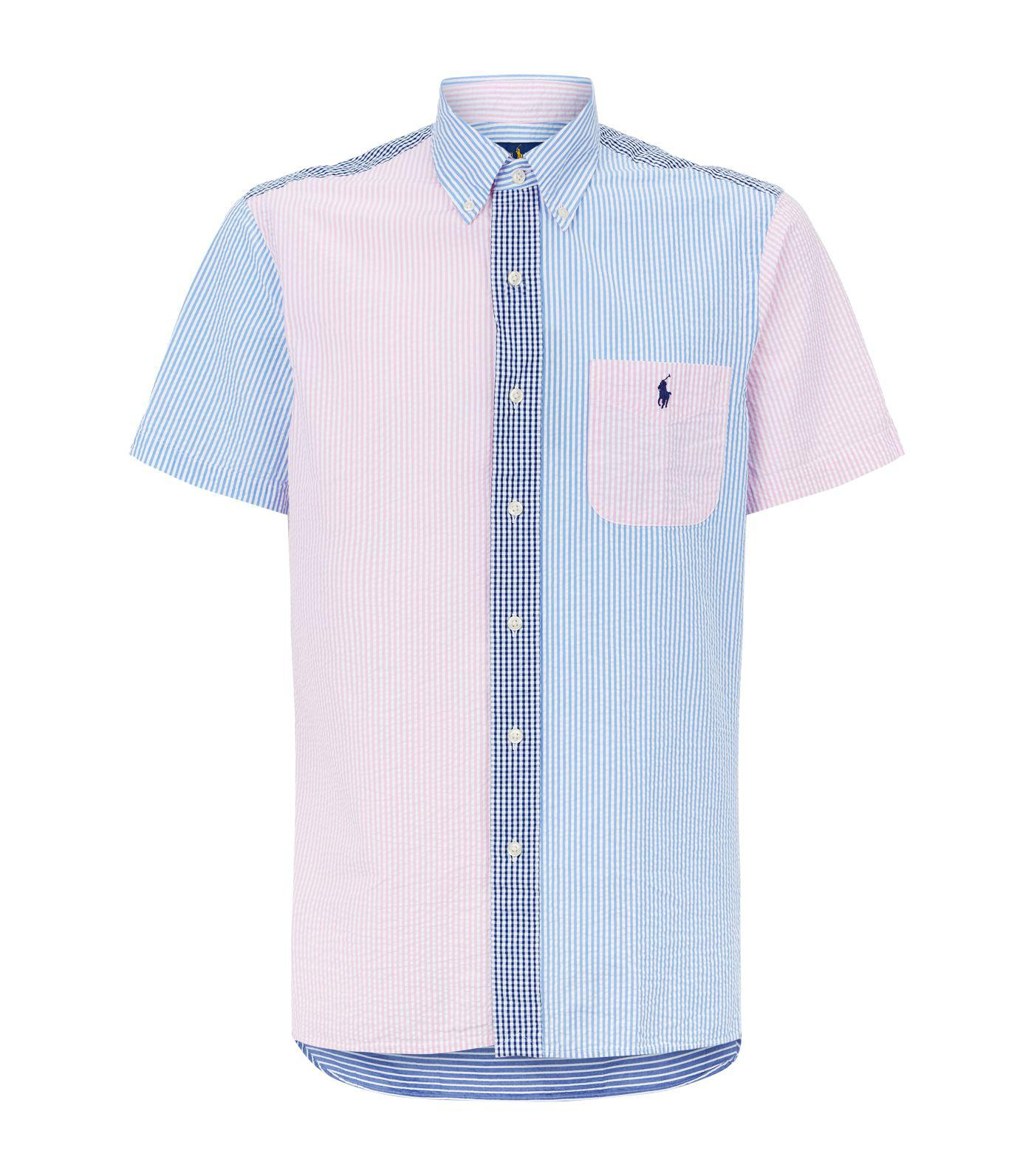 Polo Ralph Lauren Cotton Patchwork Seersucker Shirt In Blue For