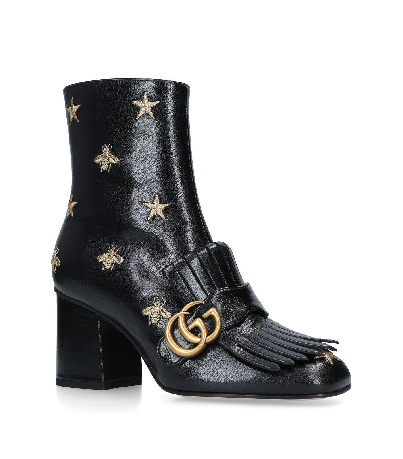 3b39daa0951 Lyst - Gucci Leather Marmont Ankle Boots 75 in Black