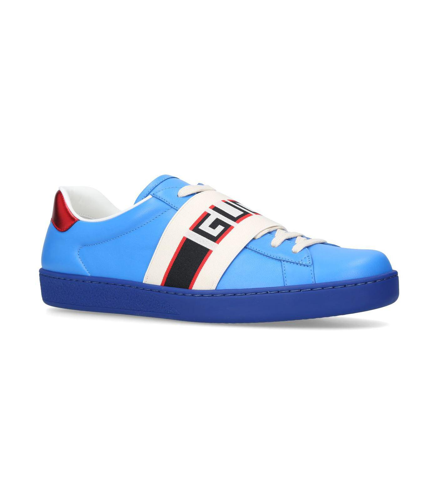 dcf3c62d174 Lyst - Gucci Logo-print Leather Sneakers in Blue for Men - Save 21%