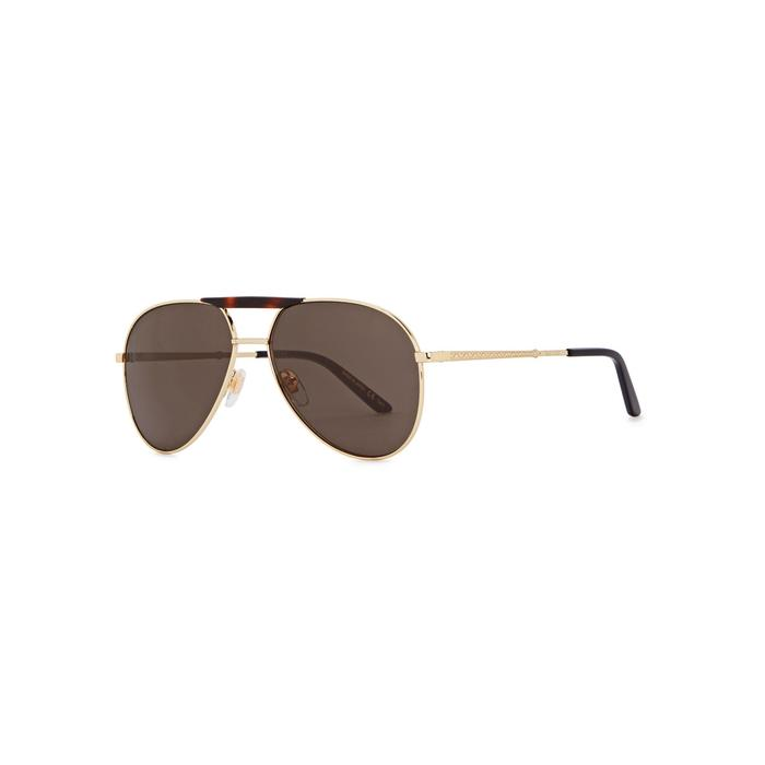 41d2c12b507 Gucci. Men s Brown Gold Tone Aviator-style Sunglasses. £355 From Harvey  Nichols