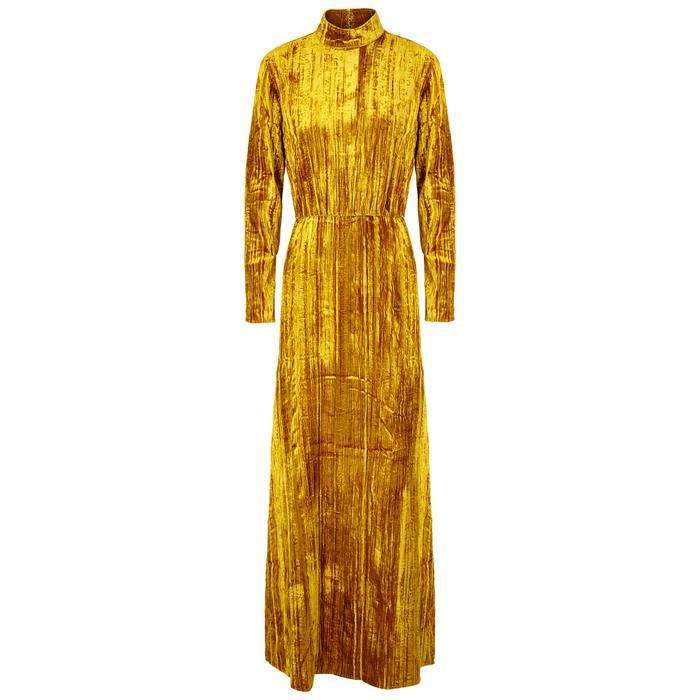 49c38b1e18bb5 Stine Goya Liv Golden Ochre Velvet Maxi Dress in Metallic - Lyst