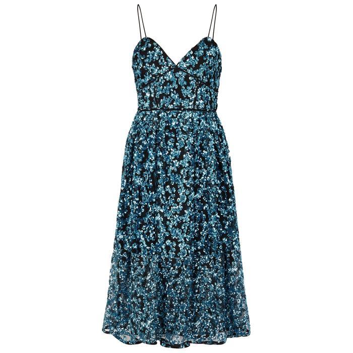 92b3acd2be1e Self-Portrait. Women's Azaelea Blue Sequinned Dress. £385 From Harvey  Nichols