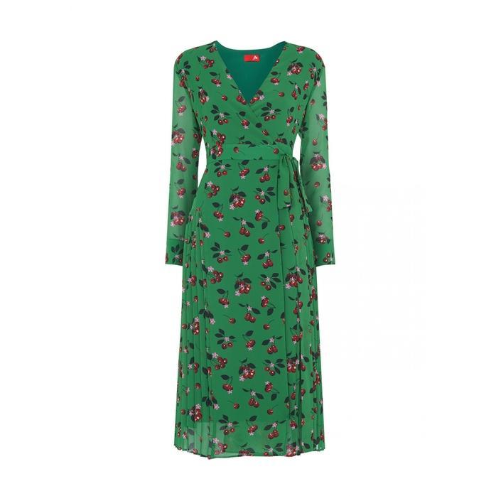 d7d08230154 Kitri Jody Cherry Print Wrap Dress in Green - Lyst